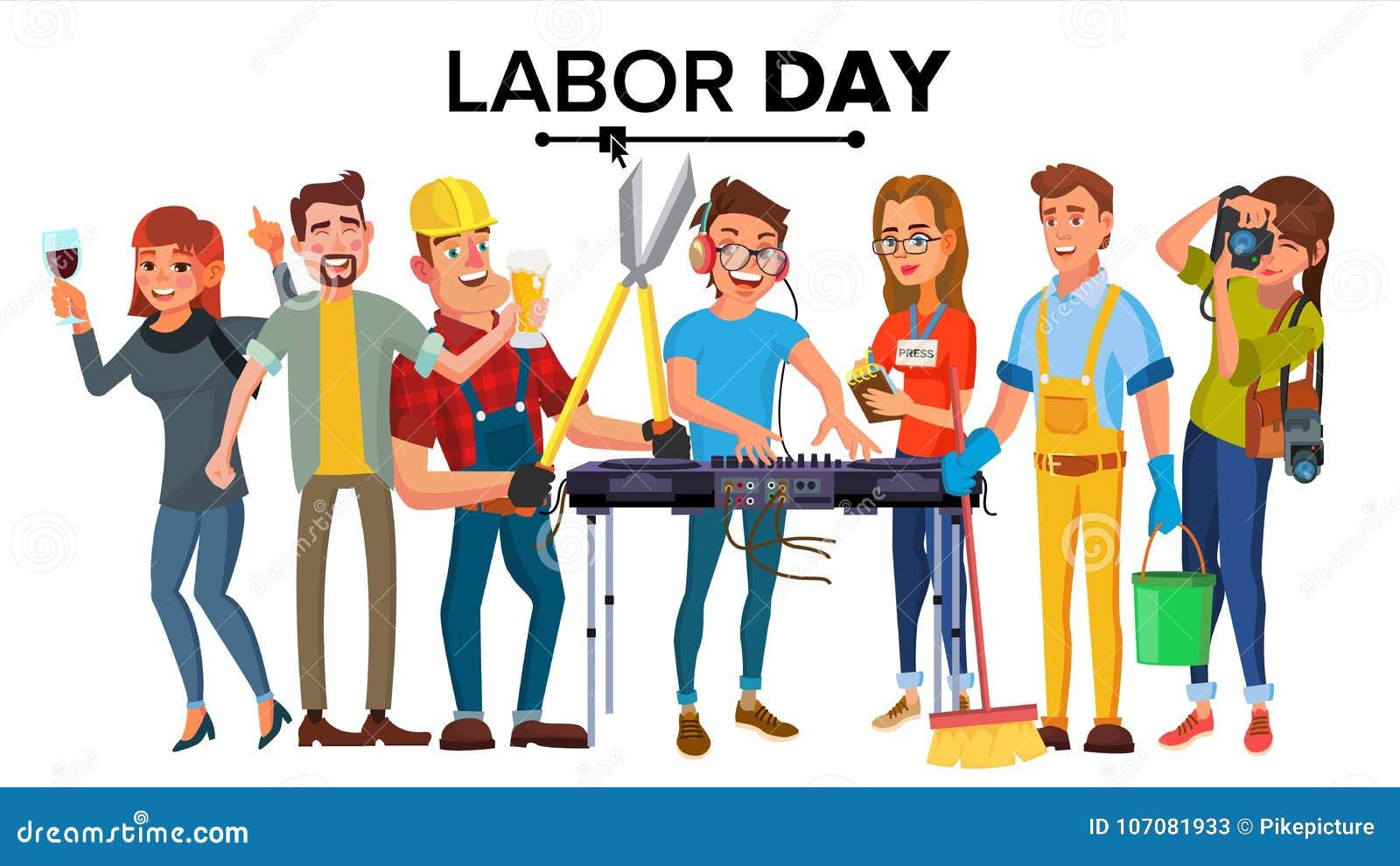 Święto Pracy wektor Nowożytni pracownicy Ustawiający Grupa ludzi