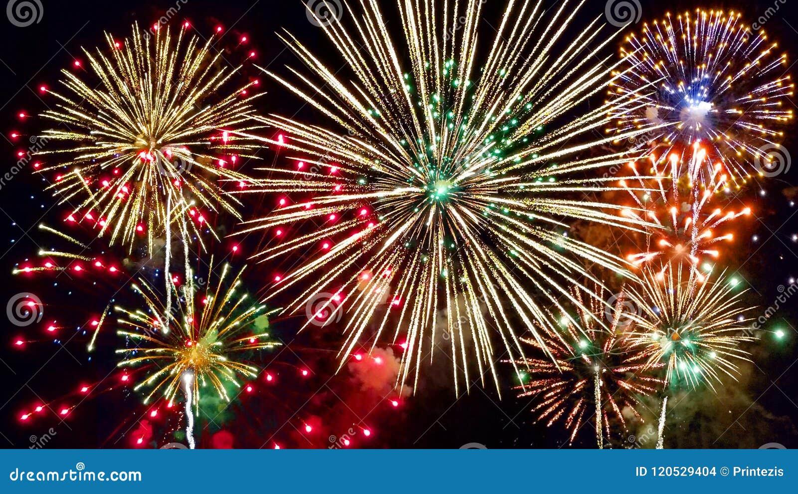 świętowania tła fajerwerki nocne niebo