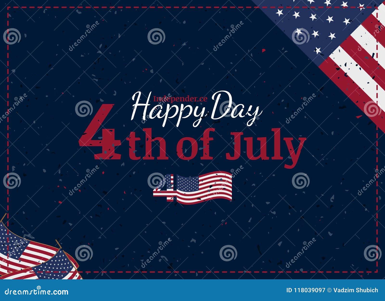 Świętuje Szczęśliwego 4th Lipiec - dzień niepodległości Rocznika retro kartka z pozdrowieniami z usa chorągwianą i w starym stylu