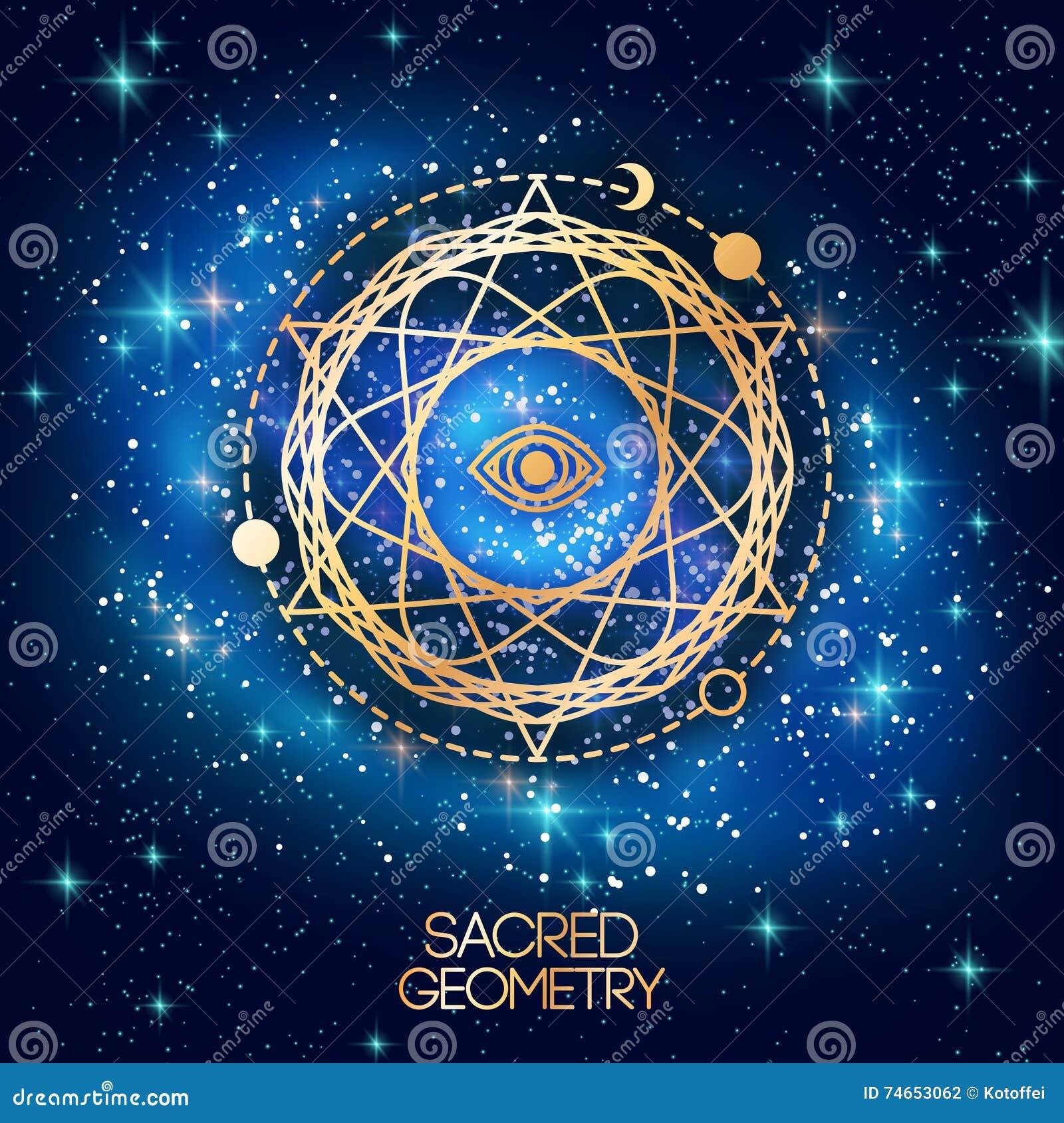 Święty geometria emblemat z okiem w gwiazdzie