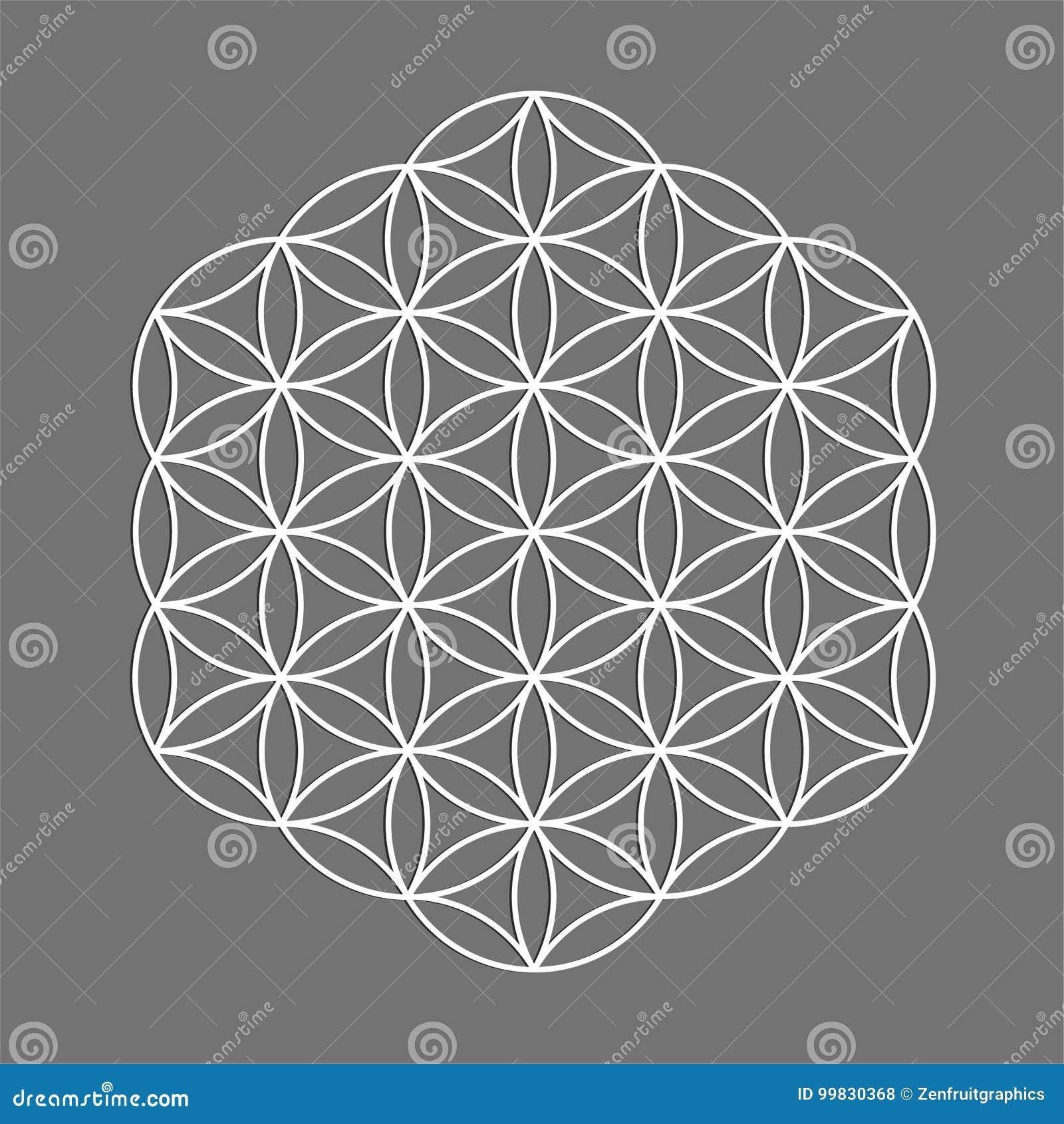 Święty geometria symbol, kwiat życie dla alchemii, duchowość, religia, filozofia, astrologia emblemat lub etykietka, Biały ikona