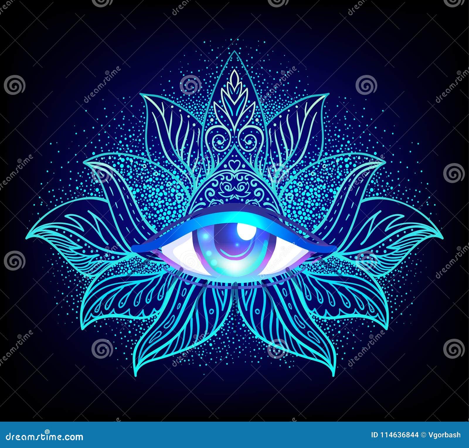 Święty geometria symbol z wszystkie widzii okiem w zjadliwych kolorach