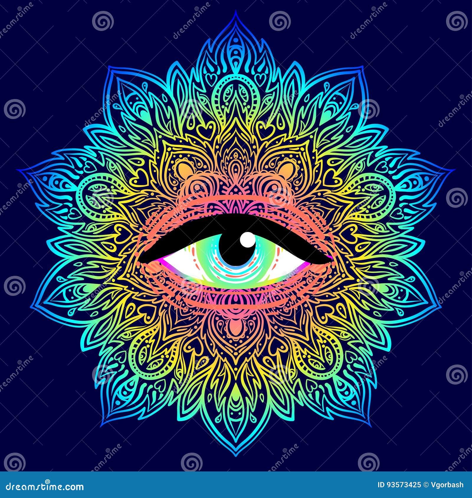 Święty geometria symbol z wszystkie widzii okiem w zjadliwych kolorach Mysti