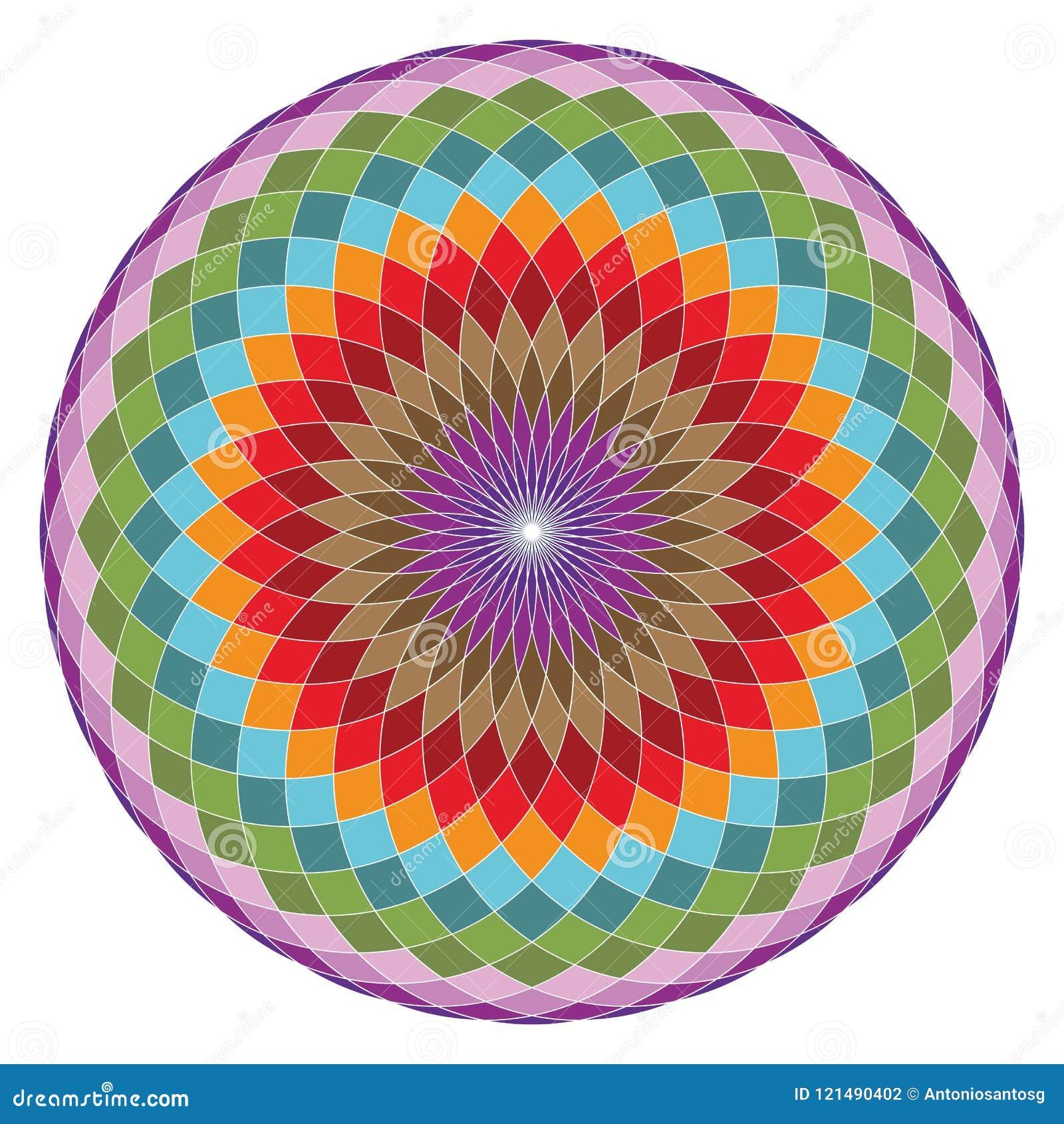 Święty geometria torus Yantra lub Hipnotyczna oko wektoru ilustracja