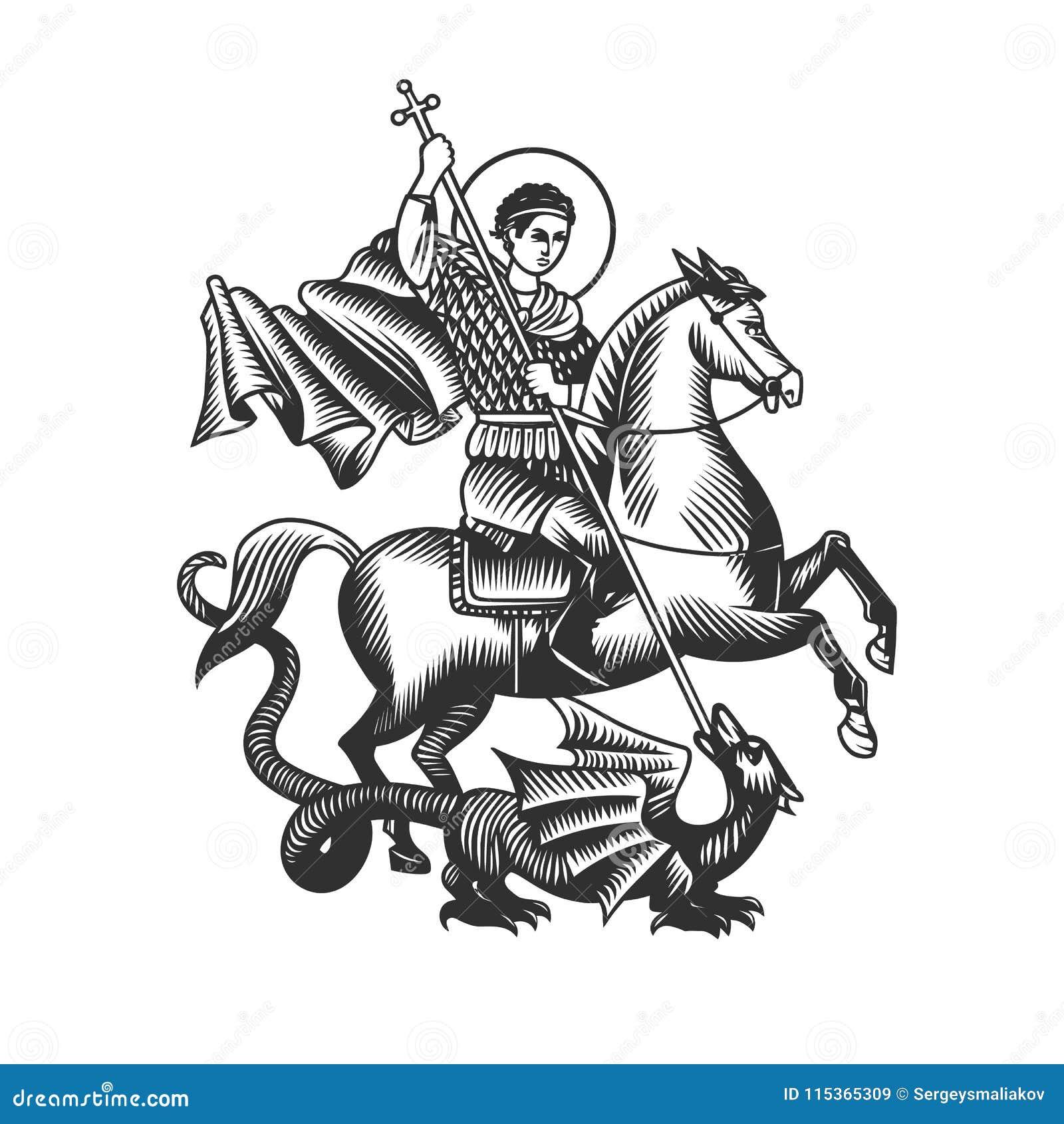 Święty George Czarny i biały wektorów przedmioty