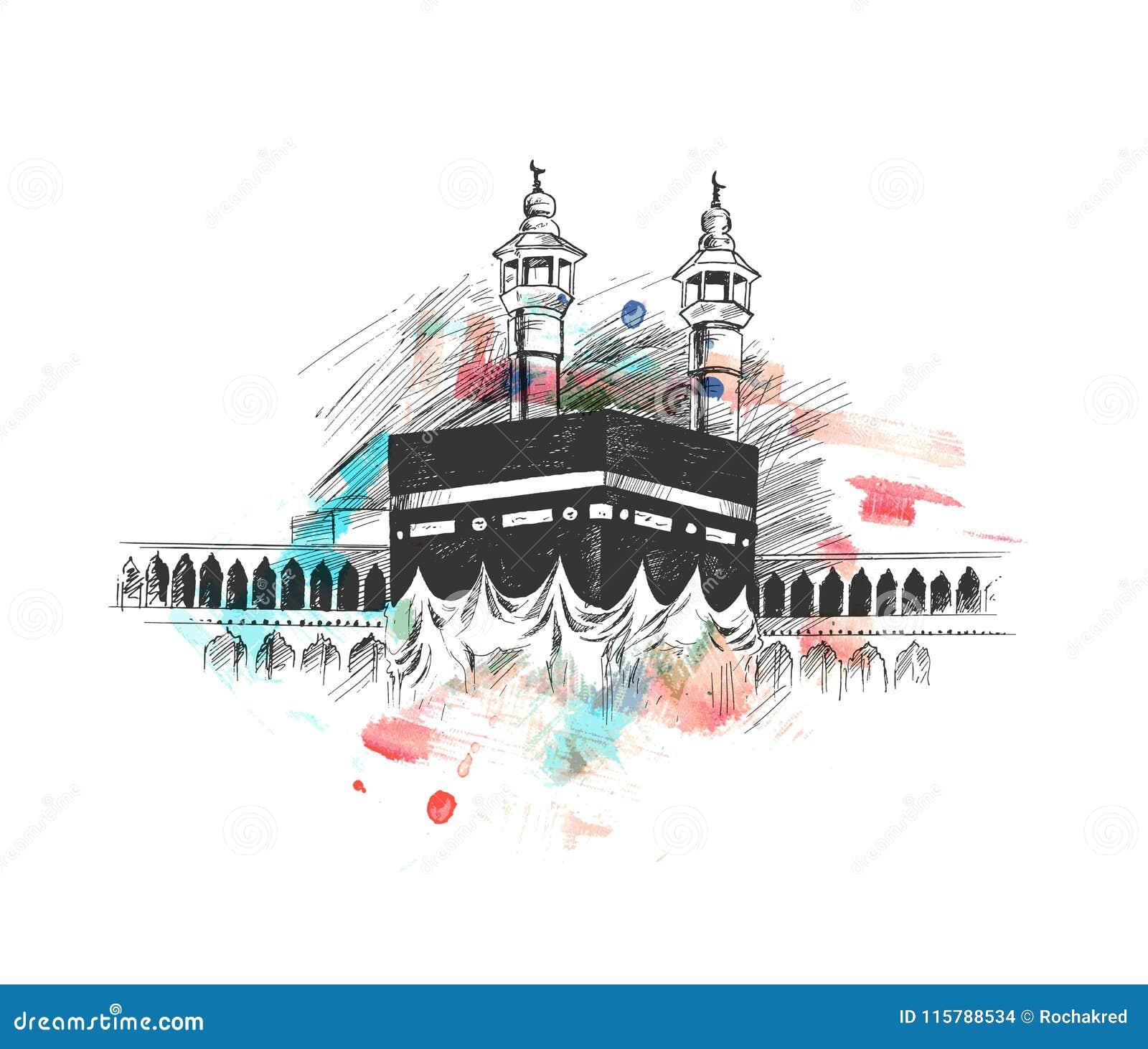 Święty Kaaba w mekce Arabia Saudyjska, ręka Rysujący nakreślenie wektor