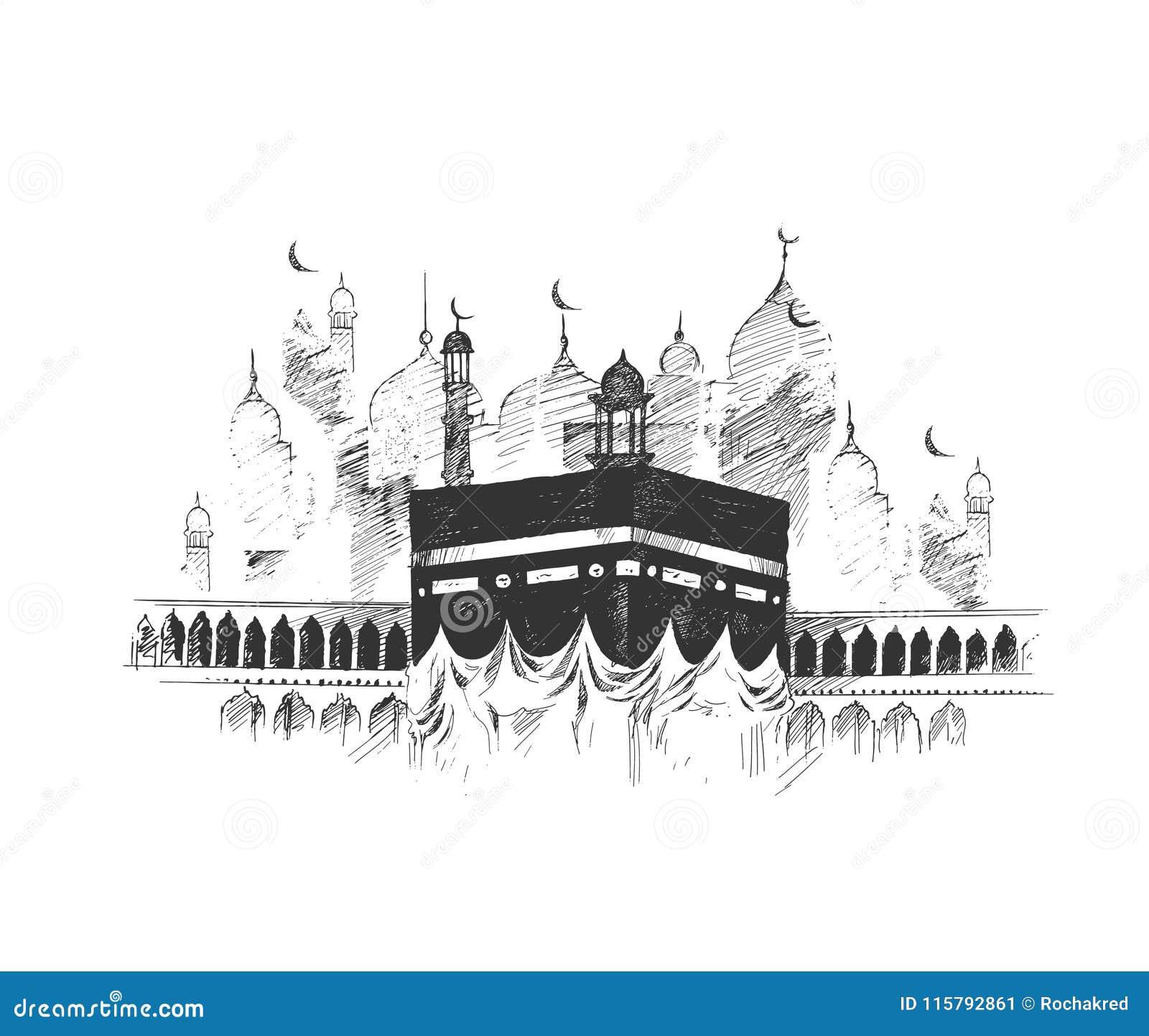 Święty Kaaba w mekce Arabia Saudyjska, ręka Rysujący nakreślenie wektoru illus