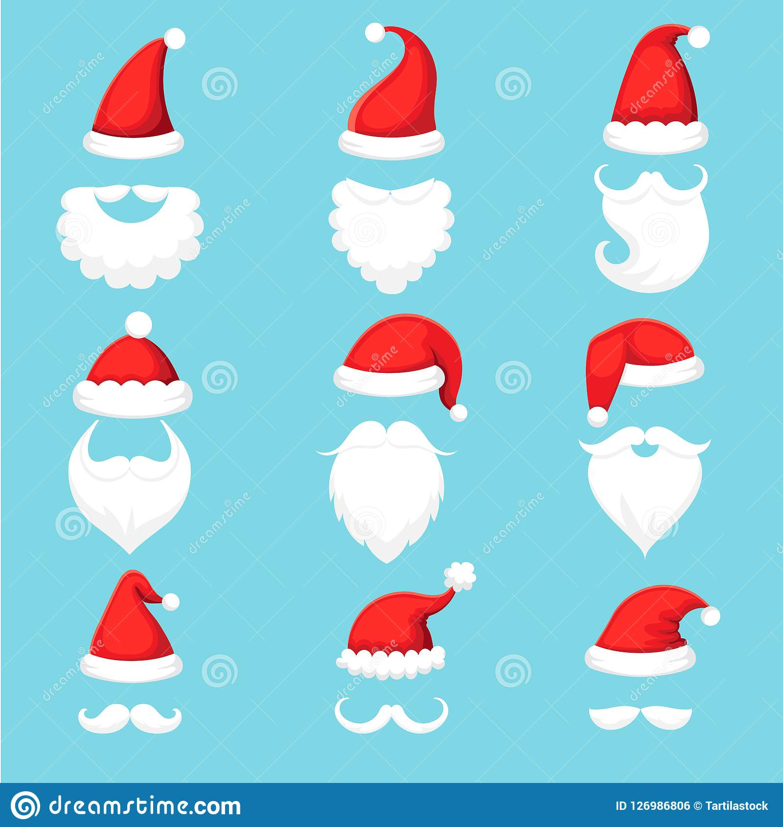 Święty Mikołaj broda i kapelusz Bożenarodzeniowej tradycyjnej czerwieni ciepli kapelusze z futerkiem, białe brody z wąsy kreskówk