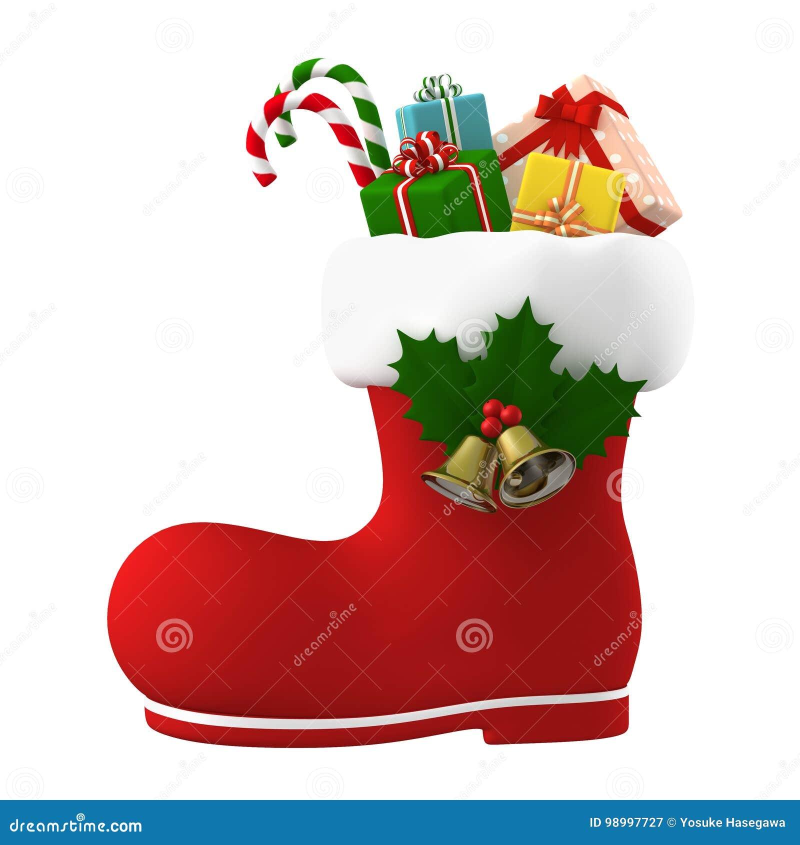 Święty Mikołaj but faszerujący z teraźniejszość ilustracja 3 d