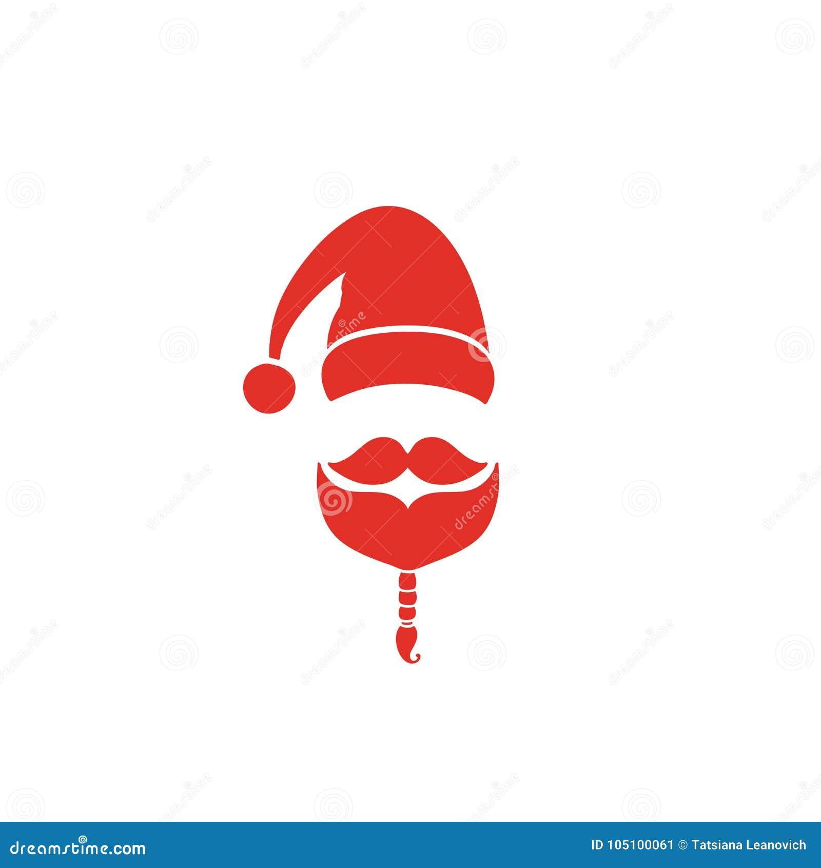 Święty Mikołaj ikona Kapelusz, wąsy i broda, Czerwony wakacyjny projekt Wektorowa ilustracja EPS10