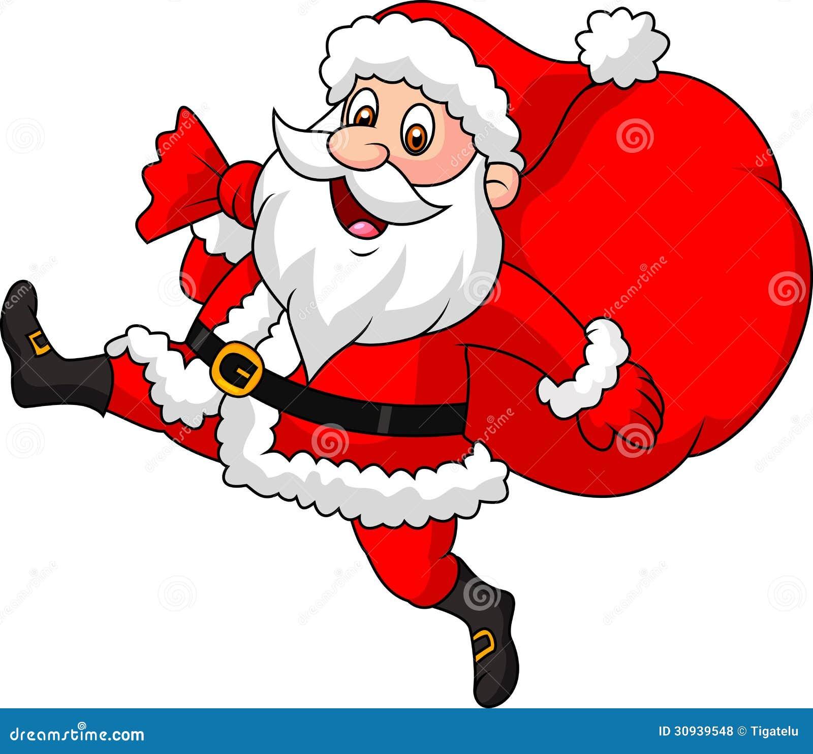 Święty Mikołaj kreskówki bieg z torbą teraźniejszość