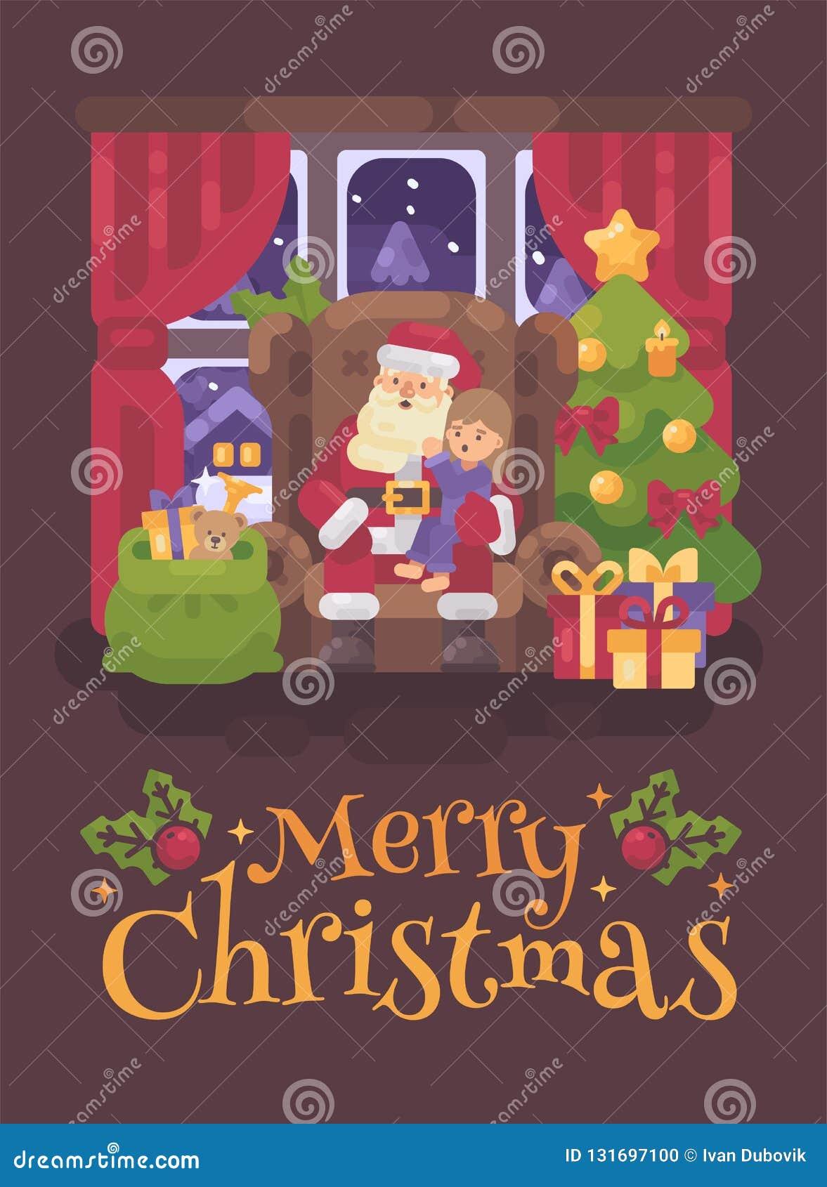 Święty Mikołaj obsiadanie w krześle w wygodnym pokoju z dziewczyną szepcze w jego ucho w jego podołku troszkę