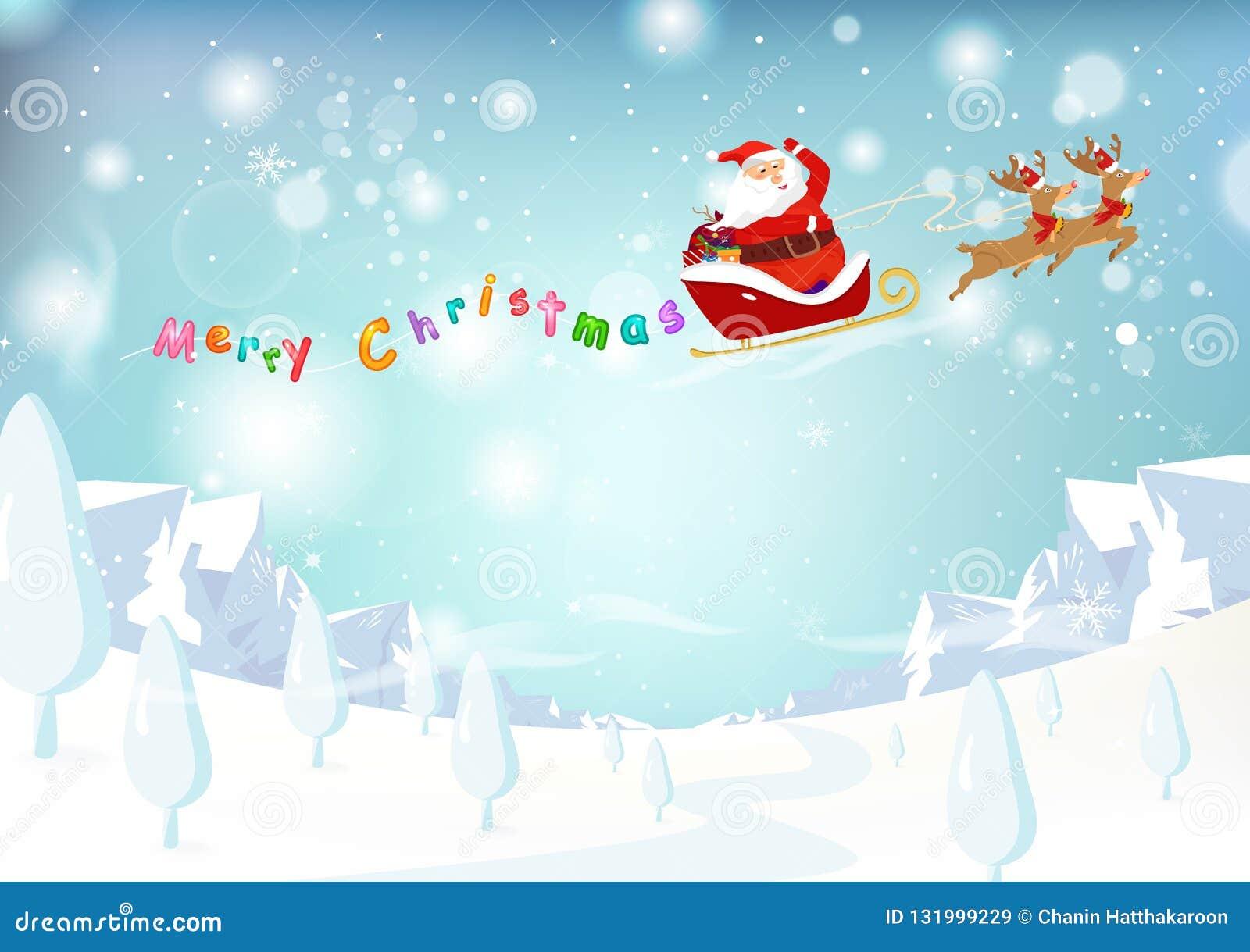 Święty Mikołaj, renifer, góry krajobrazowa fantazja śnieżny spada p