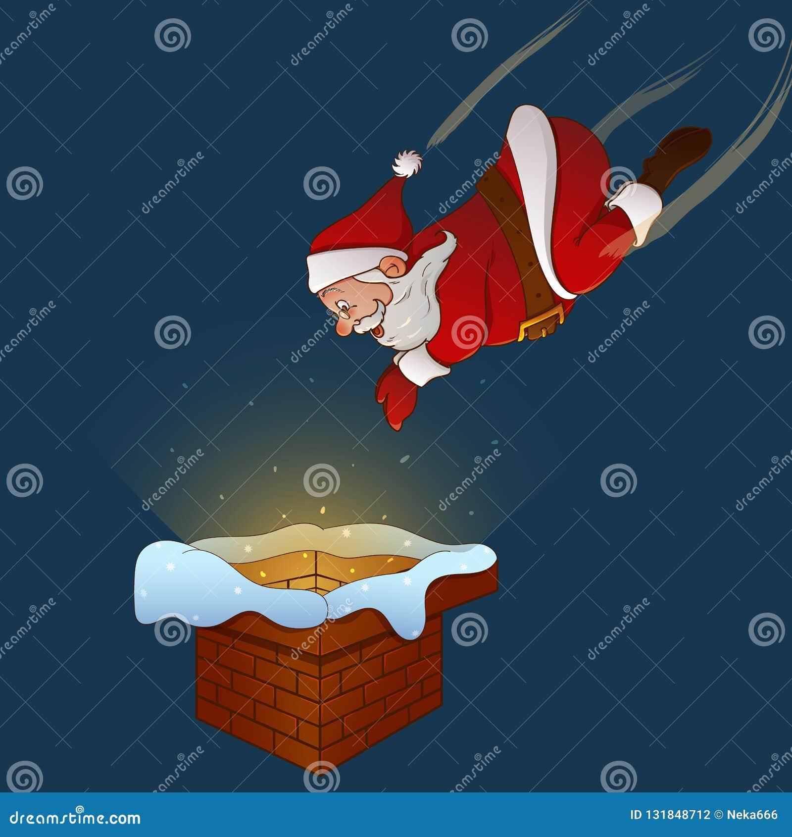 Święty Mikołaj skacze komin