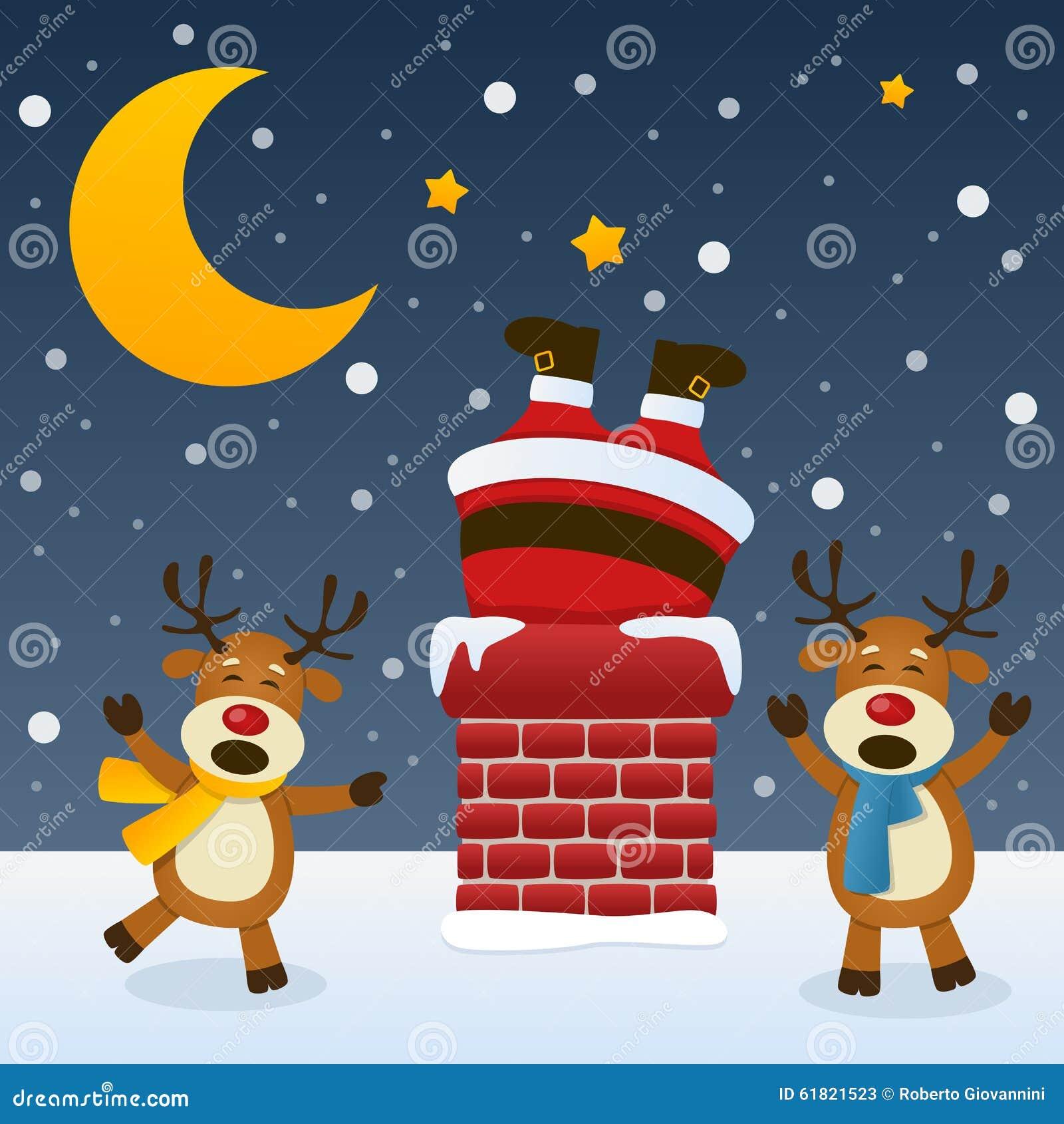 Święty Mikołaj w kominie z reniferem