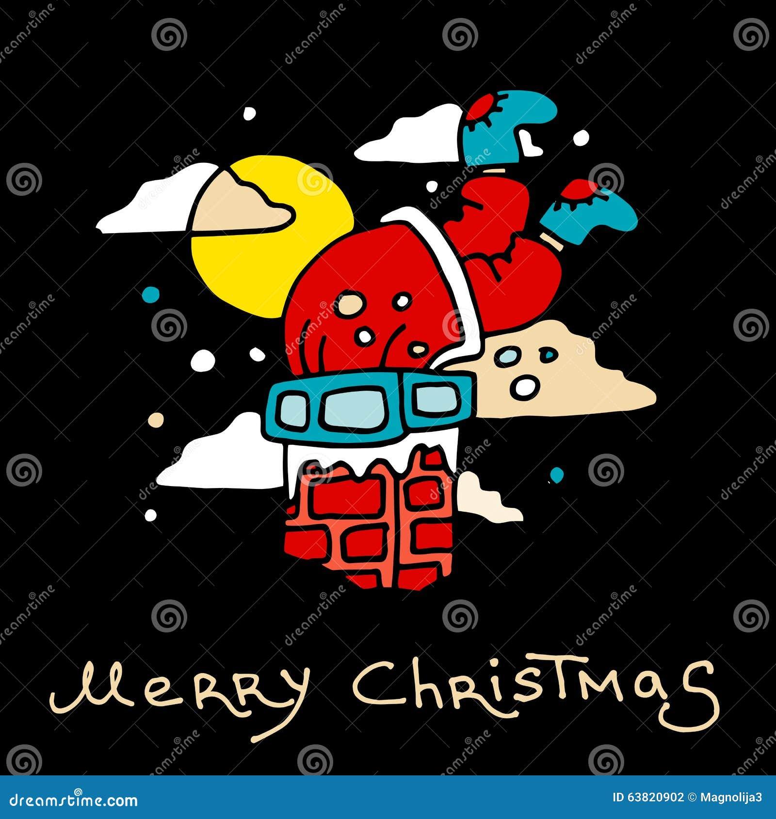 Święty Mikołaj wtykał z teraźniejszość w kominie bożych narodzeń eps10 ilustracyjny pocztówki wektor