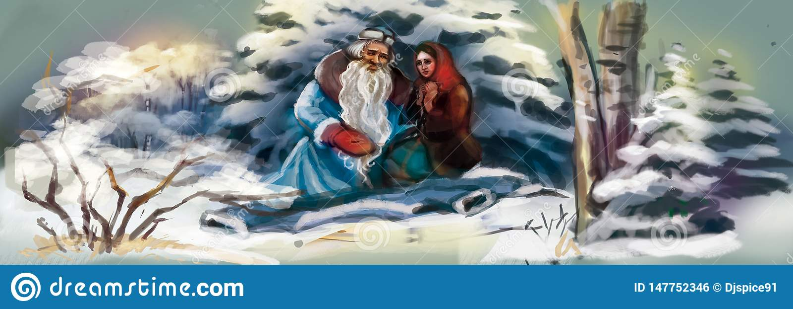Święty Mikołaj z dziewczyną w zima lesie