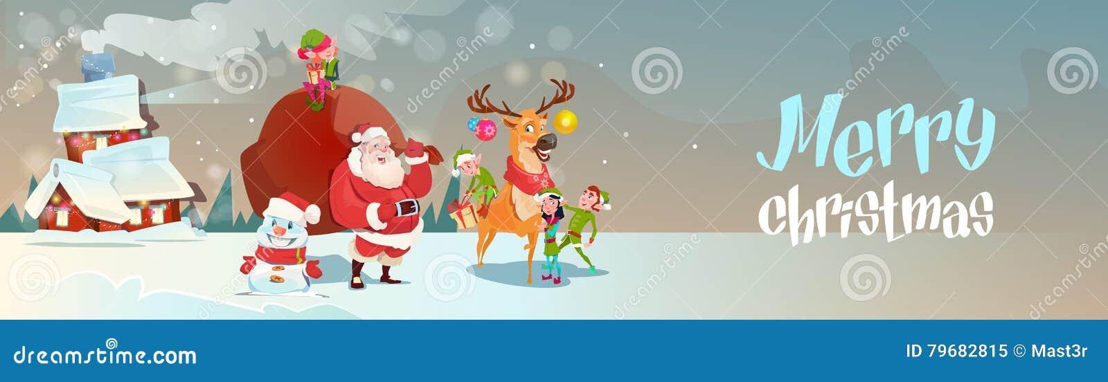 Święty Mikołaj Z Reniferowym Elfs prezenta worka przybyciem Mieścić Szczęśliwego nowy rok Wesoło bożych narodzeń sztandar