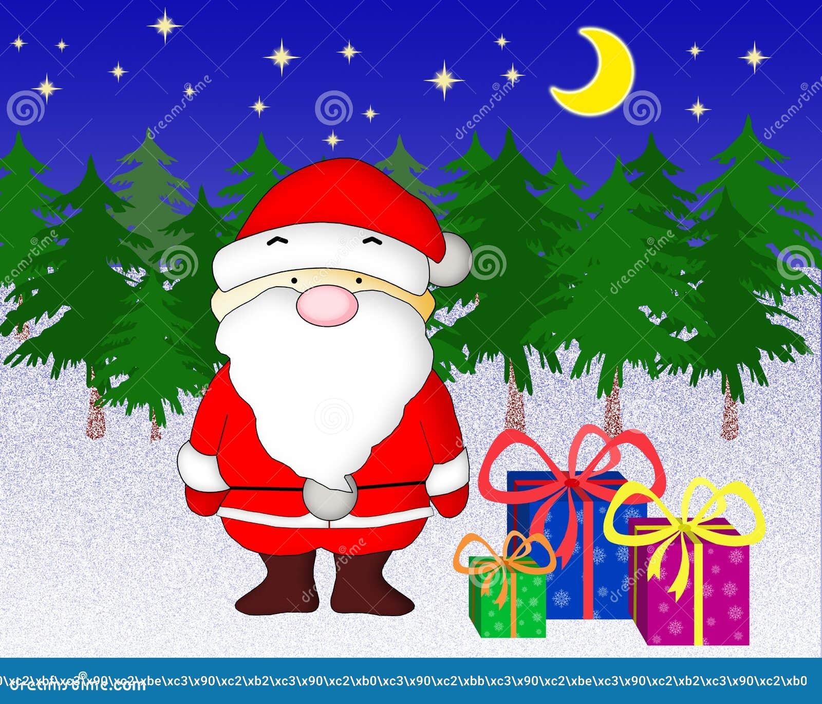 Download Święty Mikołaj Z Teraźniejszość. Ilustracji - Ilustracja złożonej z miesiąc, żakiet: 37082180