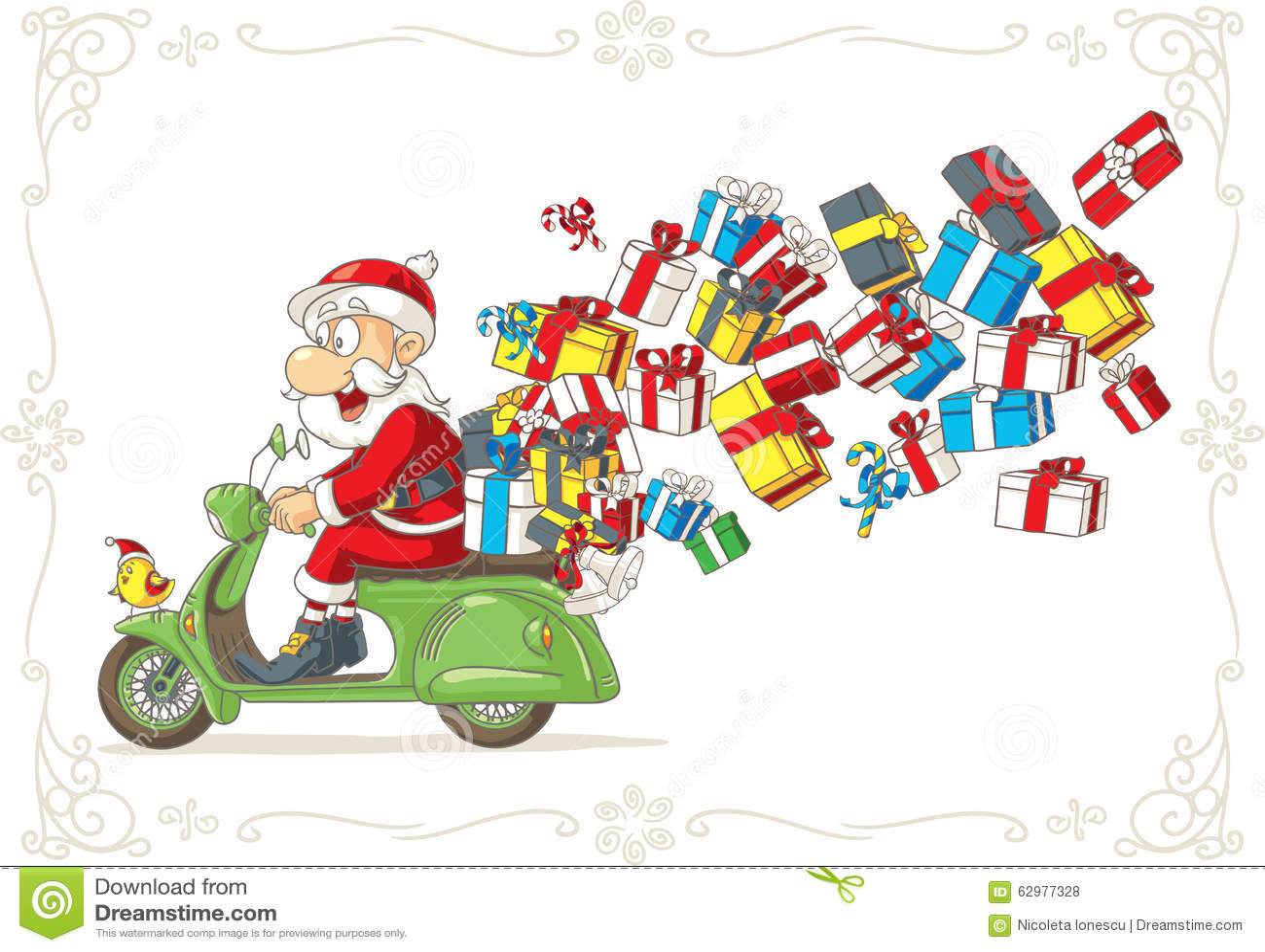 Święty Mikołaj z teraźniejszość na hulajnoga wektoru kreskówce