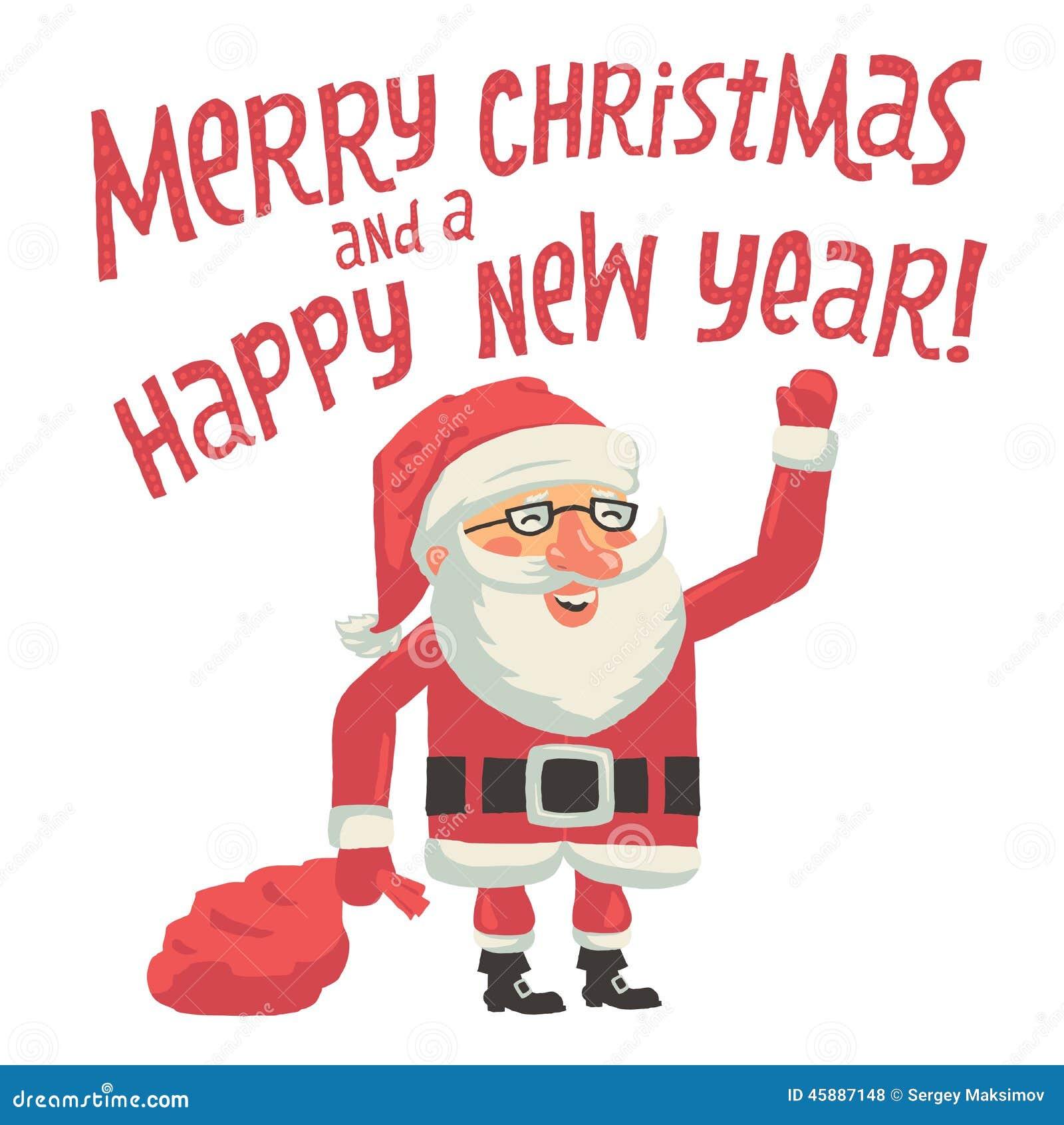 Święty Mikołaj z torbą pełno prezenty Wesoło boże narodzenia i Szczęśliwy nowego roku kartka z pozdrowieniami z ręki literowania