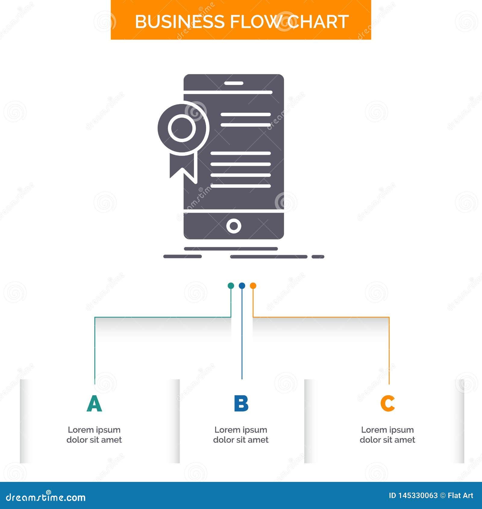 świadectwo, certyfikat, App, zastosowanie, zatwierdzenie Spływowej mapy Biznesowy projekt z 3 krokami Glif ikona Dla prezentacji