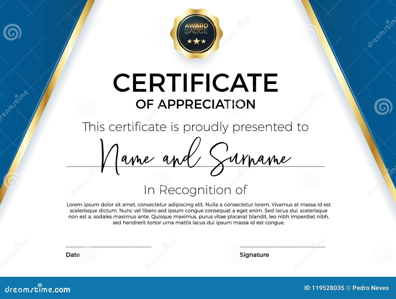 Świadectwo docenienie lub osiągnięcie z nagrody odznaką Premia Wektorowy szablon dla nagród i dyplomów