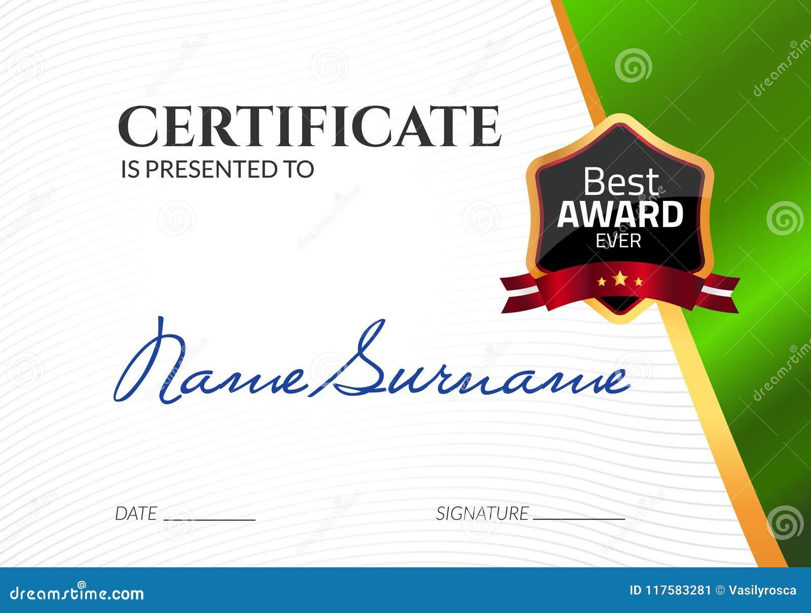 Świadectwo szablonu luksusowa nagroda Wektorowy biznesowy dyplom z foka znaczkiem Prezenta talon lub sukcesu osiągnięcie