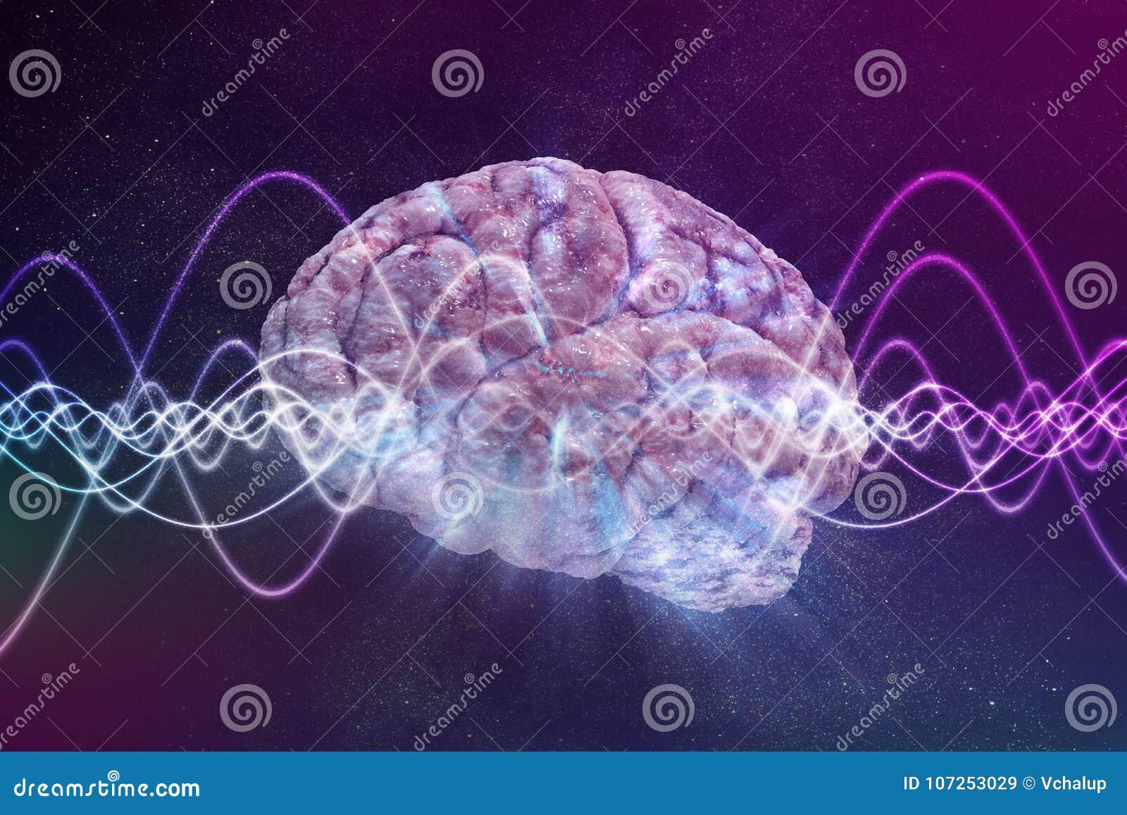 Świadomości pojęcie Mózg i sygnał machamy w tle ilustracja pozbawione 3 d