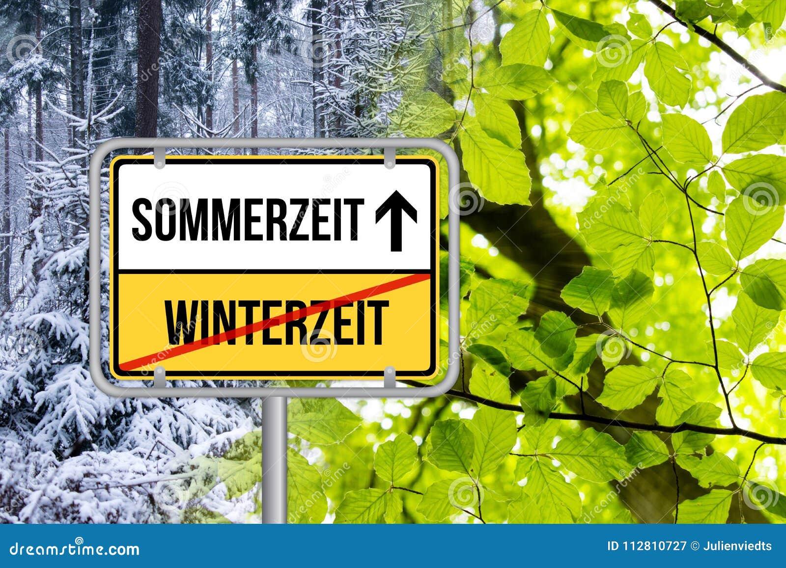 Światła dziennego oszczędzania czas DST Zeitumstellung Von Winterzeit Auf Sommerzeit Schild