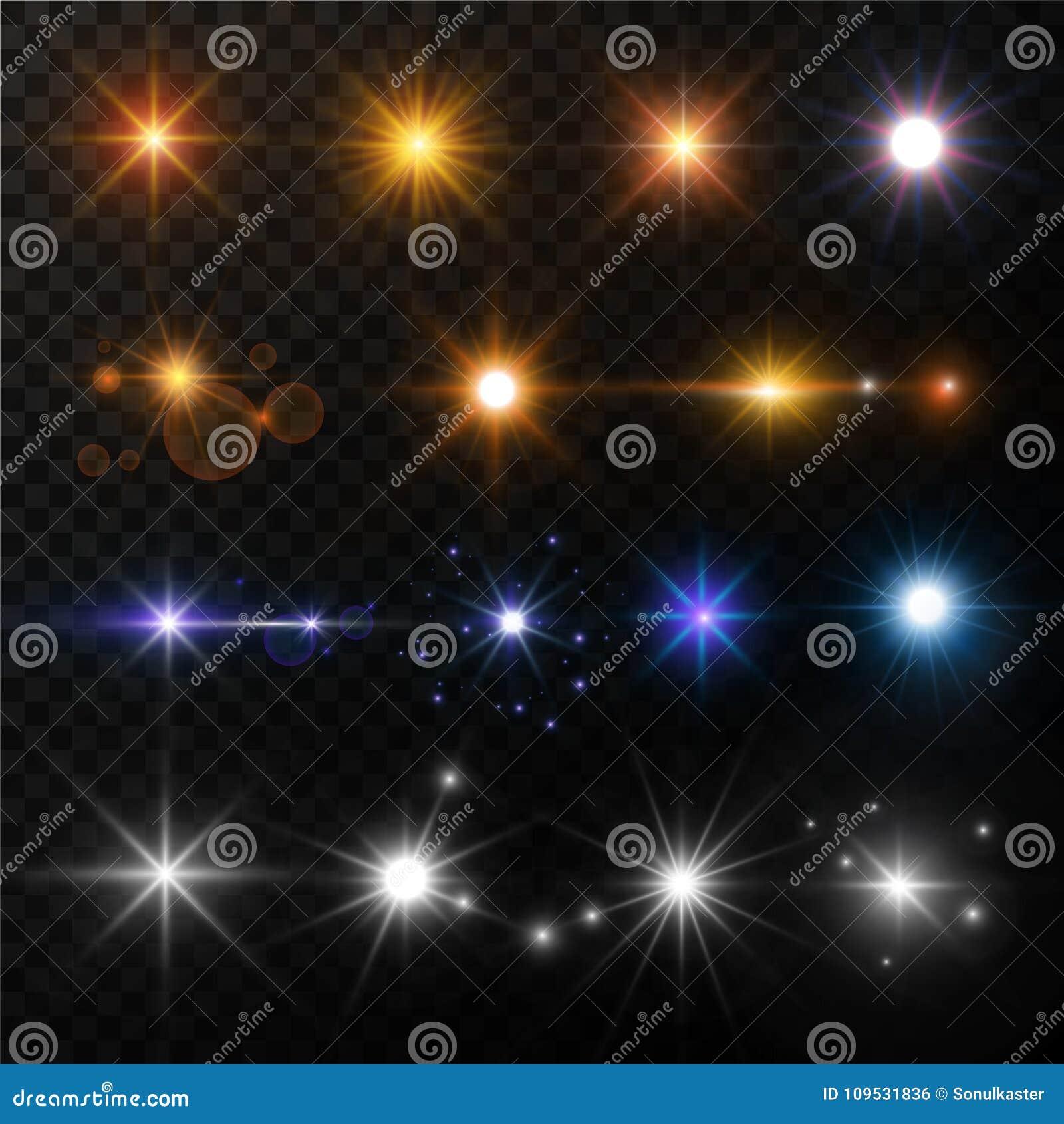 Światła i gwiazda połysku obiektywu racy słońca promieni jarzyć się błyska wektor odizolowywać złociste i neonowe ikony