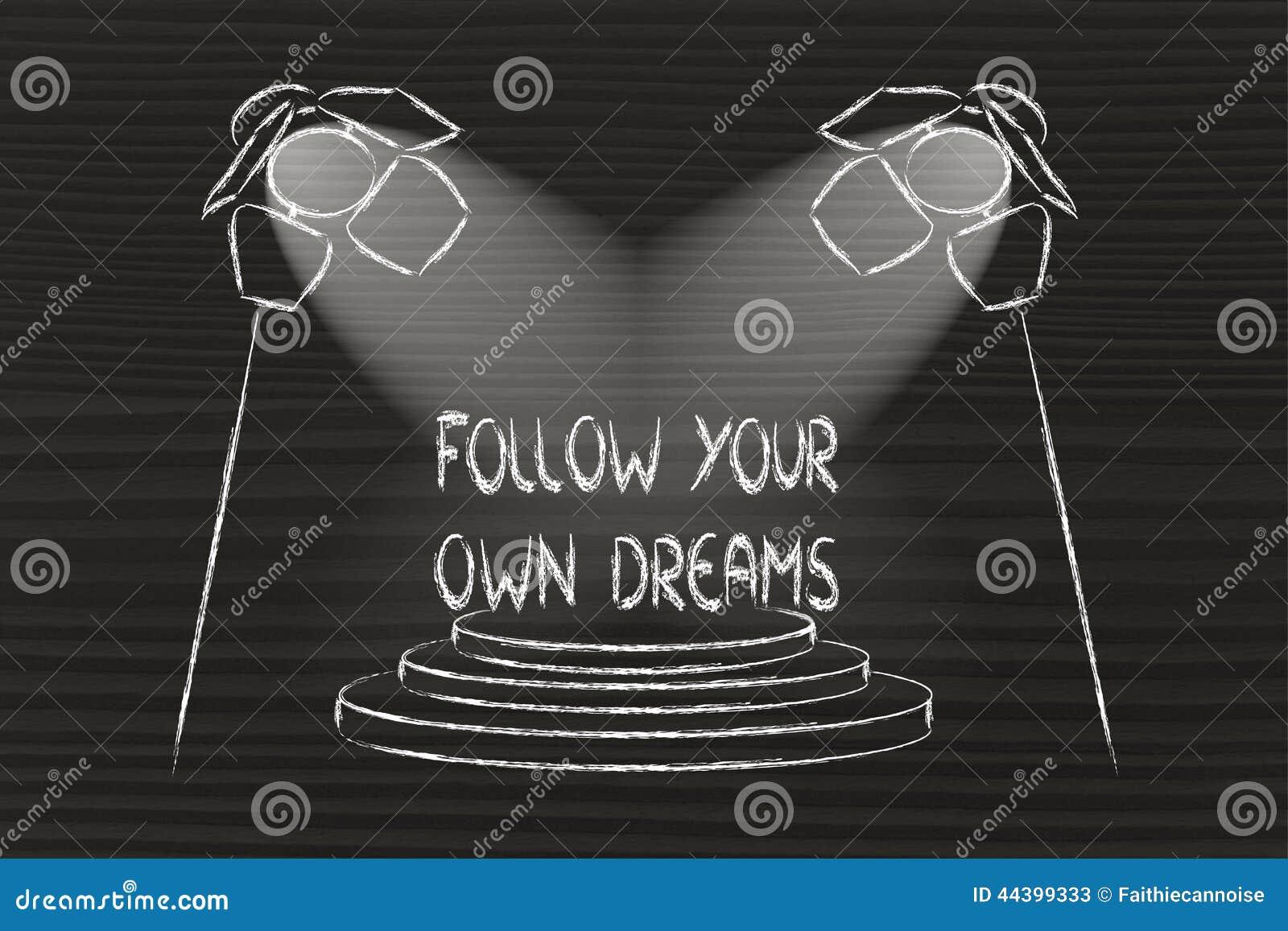 Światła reflektorów na sukcesie, podążają twój swój sen