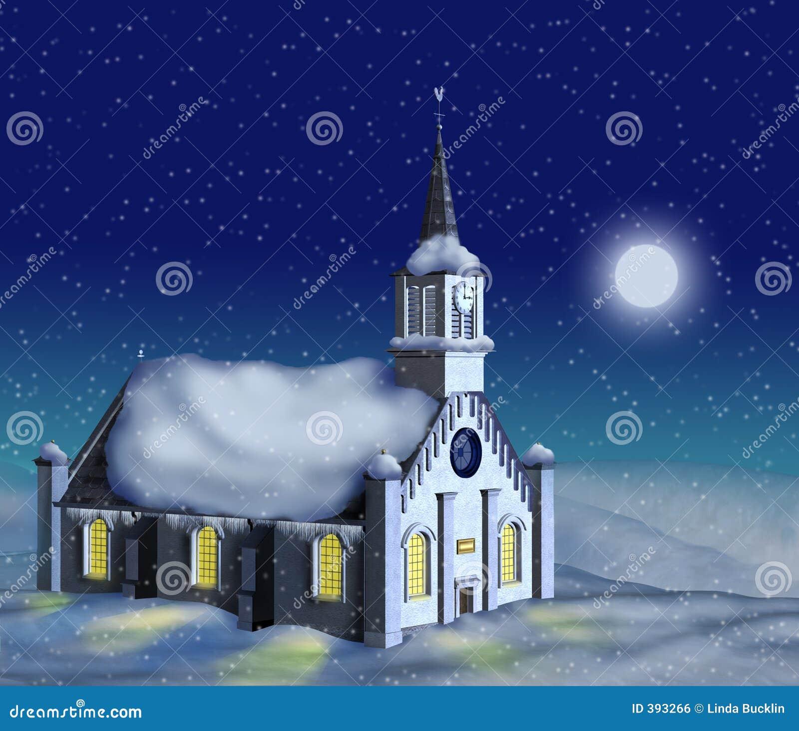 światło księżyca kościelna zimy.
