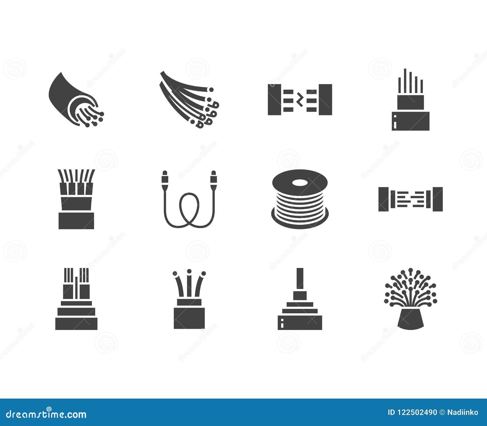 Światłowodu glifu płaskie ikony Sieć związek, komputeru drut, kablowa bobina, transfer danych Znaki dla elektronika