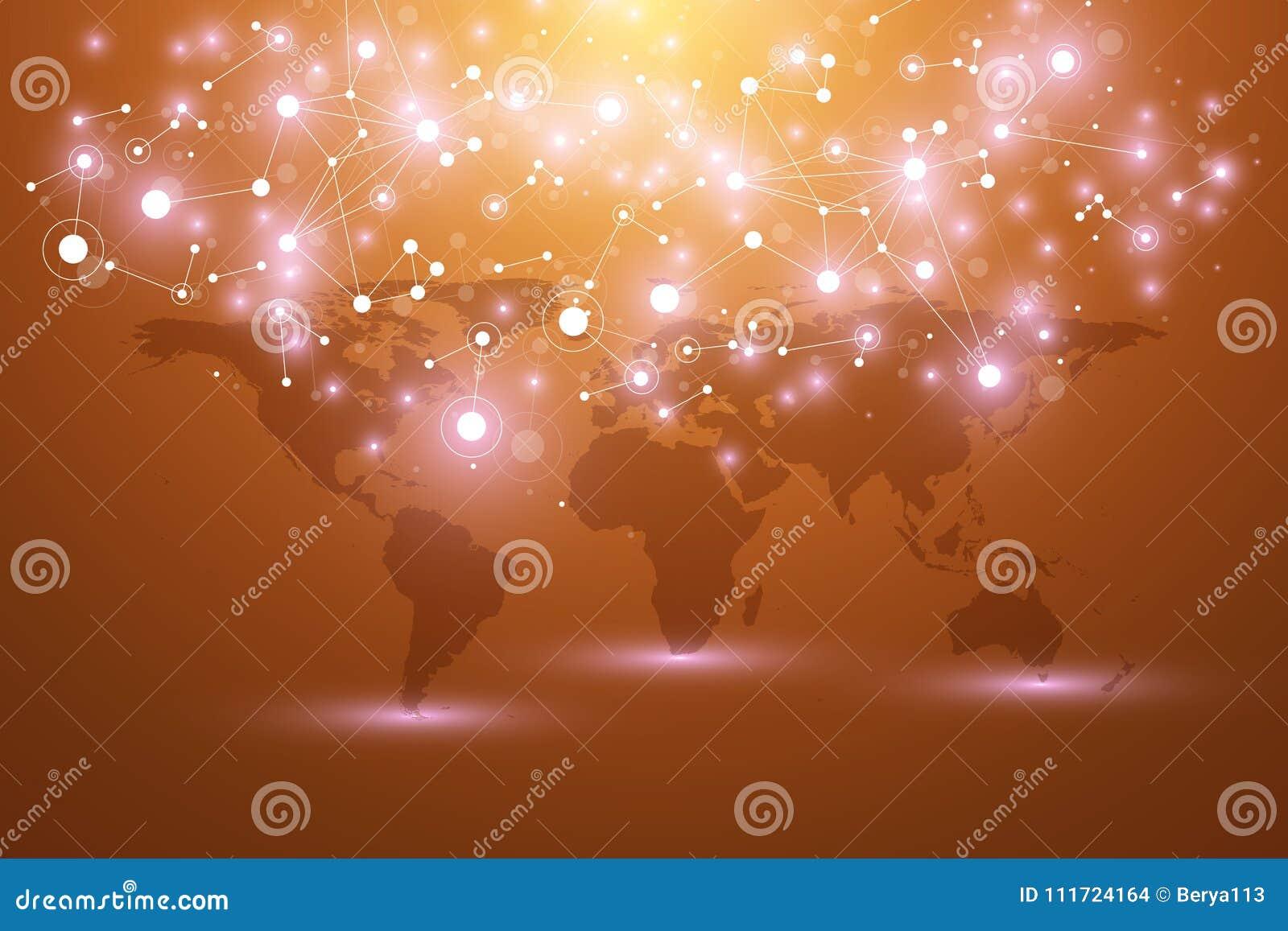 Światowa mapa z globalnym technologia networking pojęciem Cyfrowych dane unaocznienie Wykłada plexus Duży dane tło