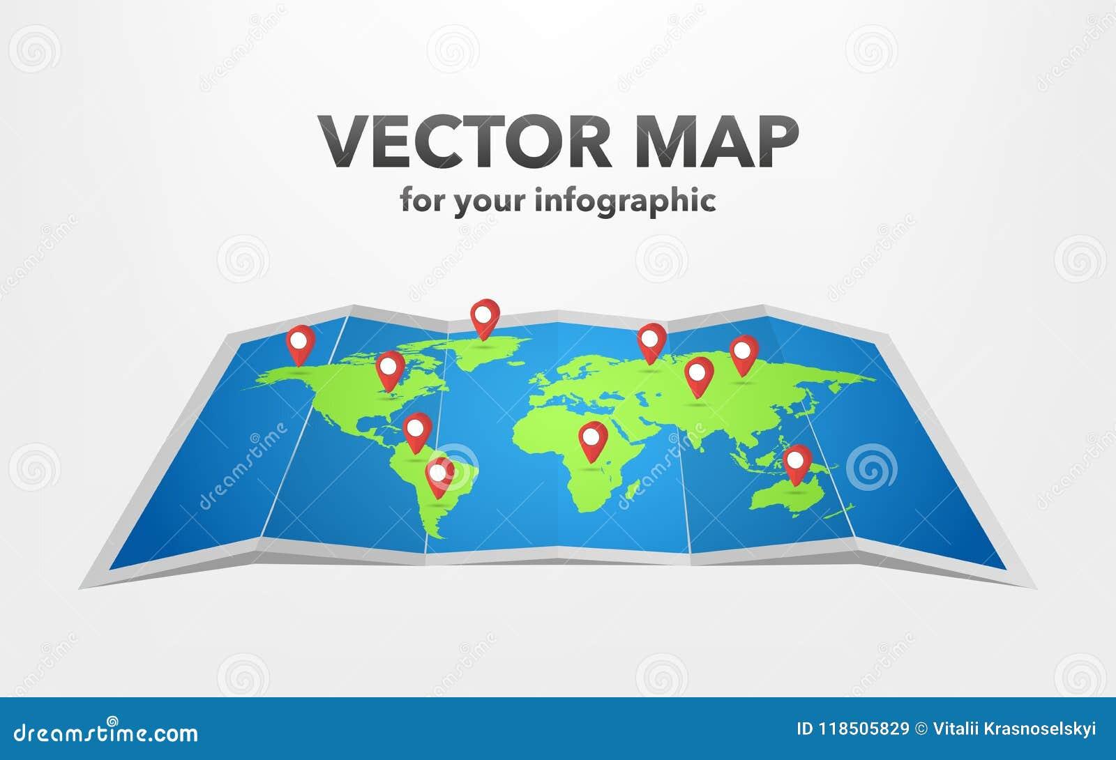 Światowa mapa z infographic elementami, wektorowa ilustracja