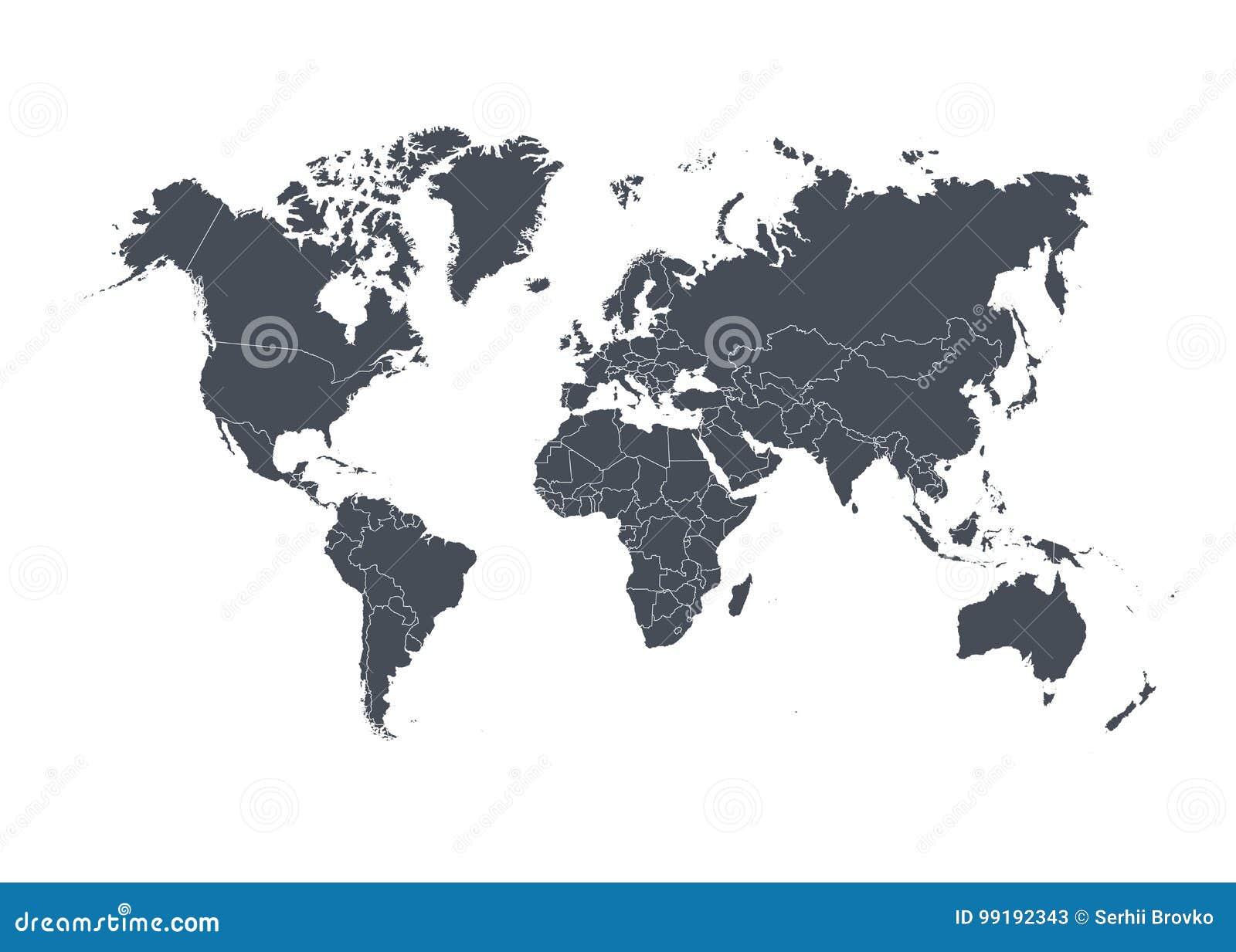 Światowa mapa z krajami odizolowywającymi na białym tle również zwrócić corel ilustracji wektora