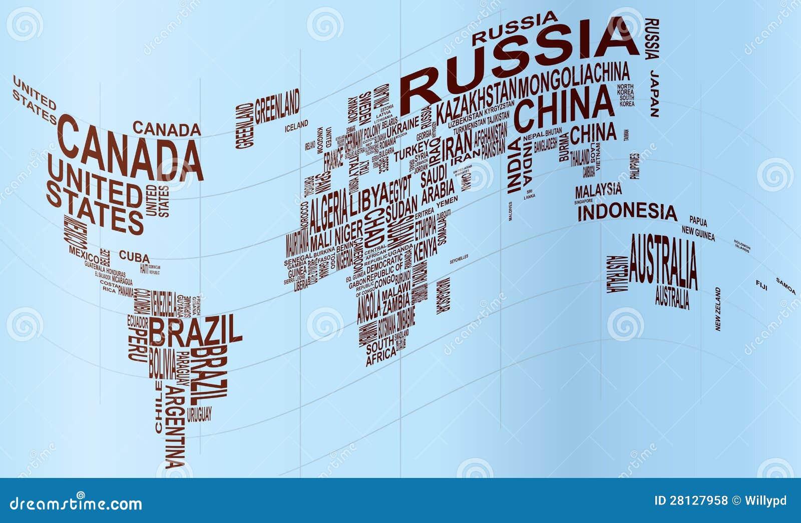 Światowa mapa z kraju imieniem