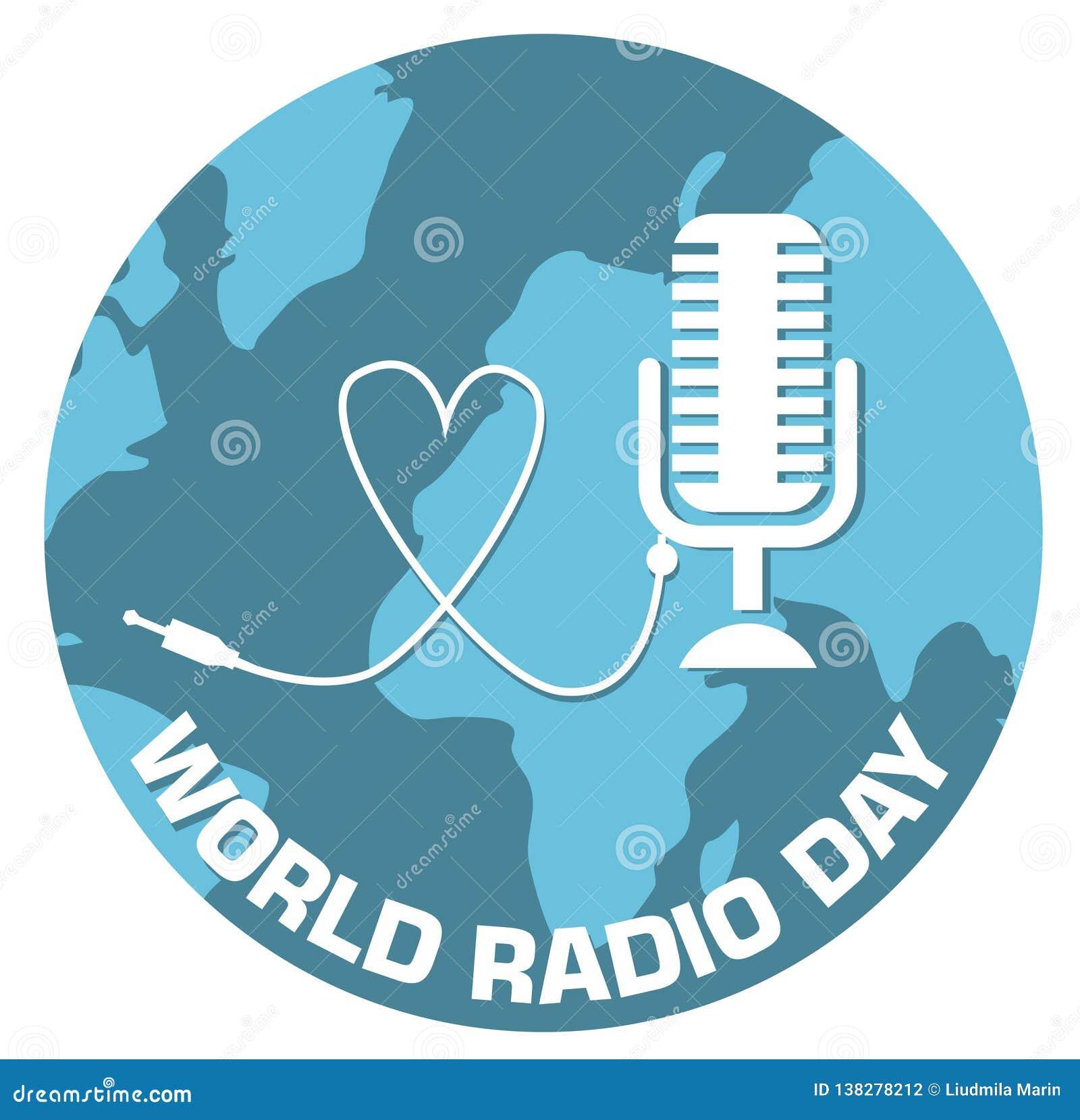 Światowa radiowego dnia pojęcia projekta wektoru ilustracja