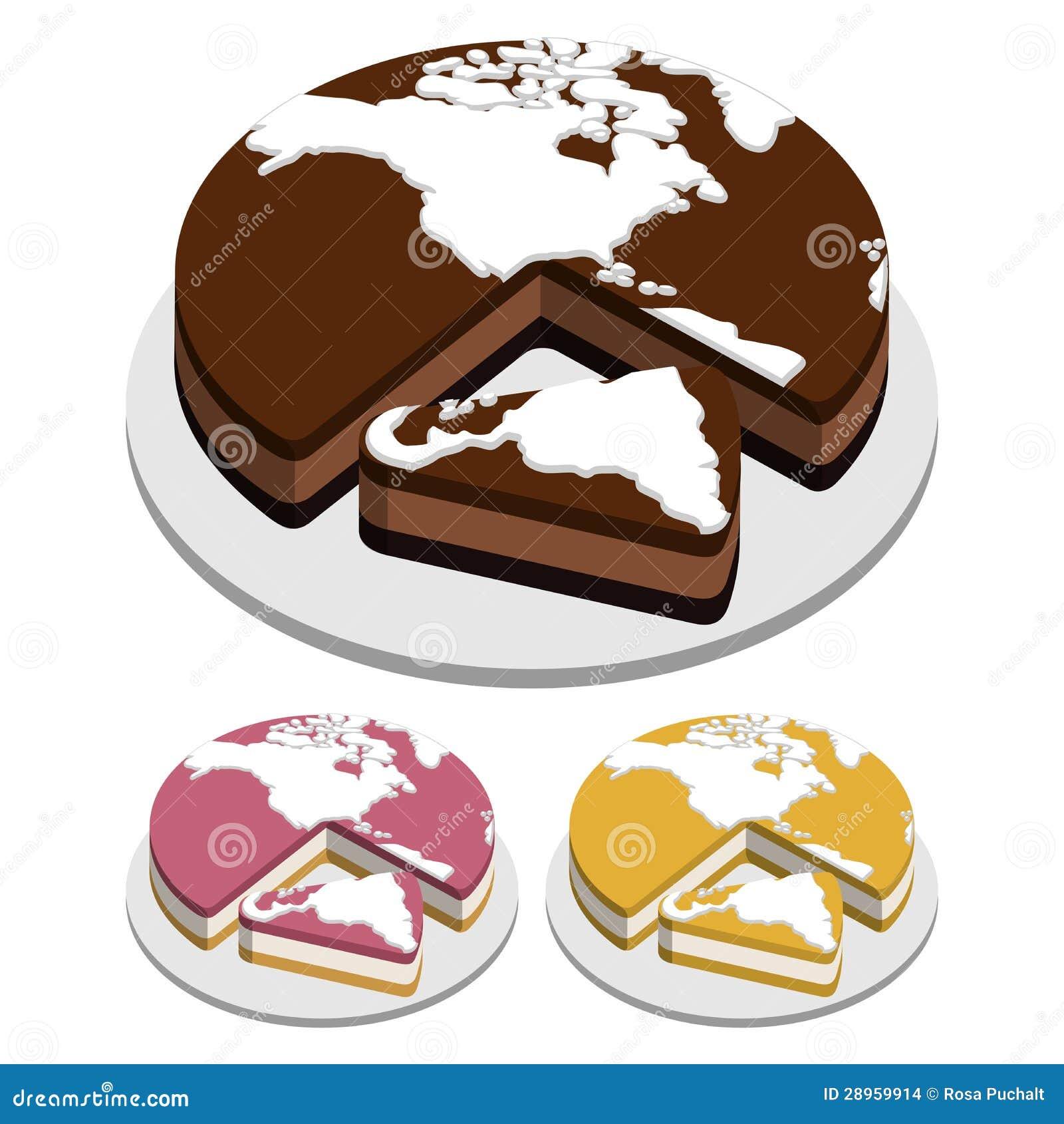 Światowej mapy torty