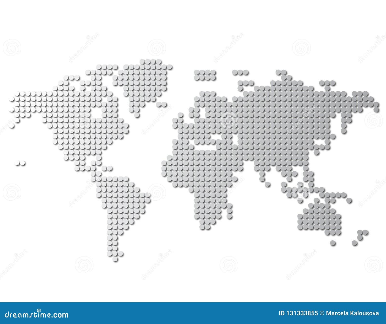 Światowej mapy wektor, odizolowywający na białym tle Mieszkanie ziemia, szarości mapy szablon dla strona internetowa wzoru, spraw