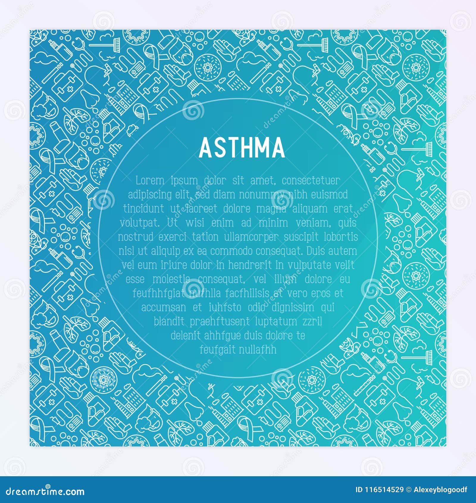 Światowy astma dnia pojęcie z cienkimi kreskowymi ikonami