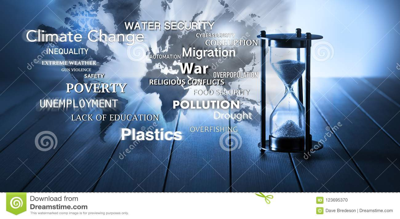 Światowy Globalny problemów zagadnień czasu Hourglass