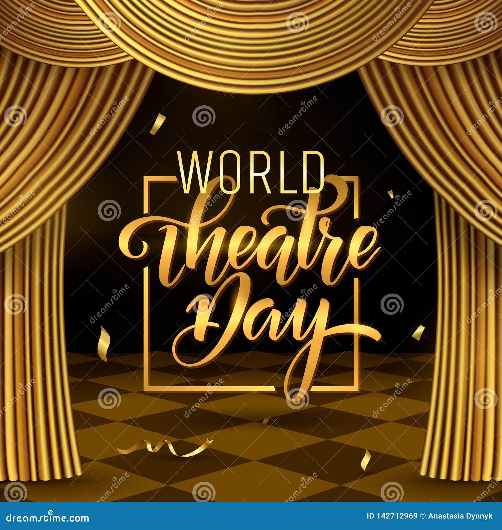 ?wiatowy theatre dnia literowanie Karnawa?u zaproszenia karty Partyjny szablon wiosna wakacje Wektorowa ilustracja EPS10