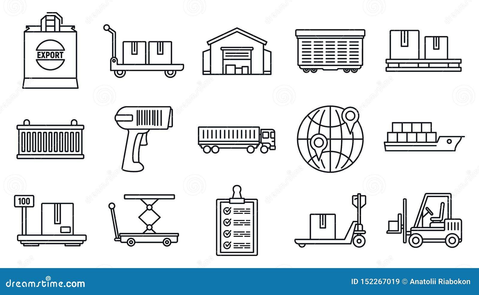 Światowych towarów eksportowe ikony ustawiać, konturu styl