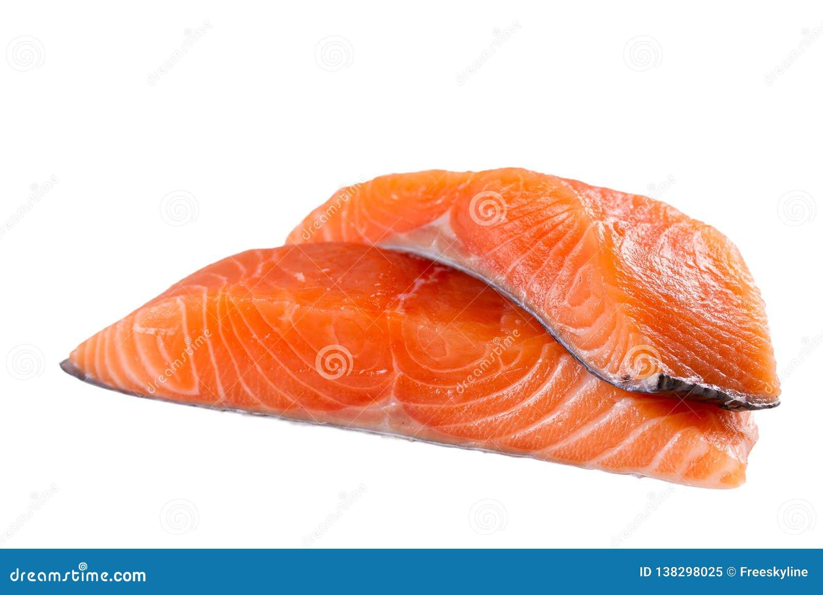 Świeża łosoś ryba odizolowywająca na białym tle bez cienia - wizerunek