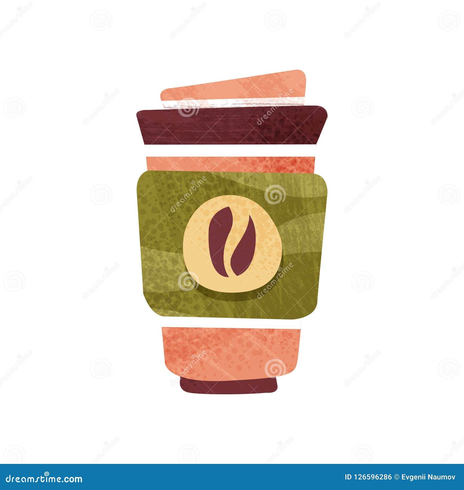 Świeża kawa w dużej plastikowej filiżance z deklem gorący napój smaczny napój Płaski wektorowy projekt z teksturą