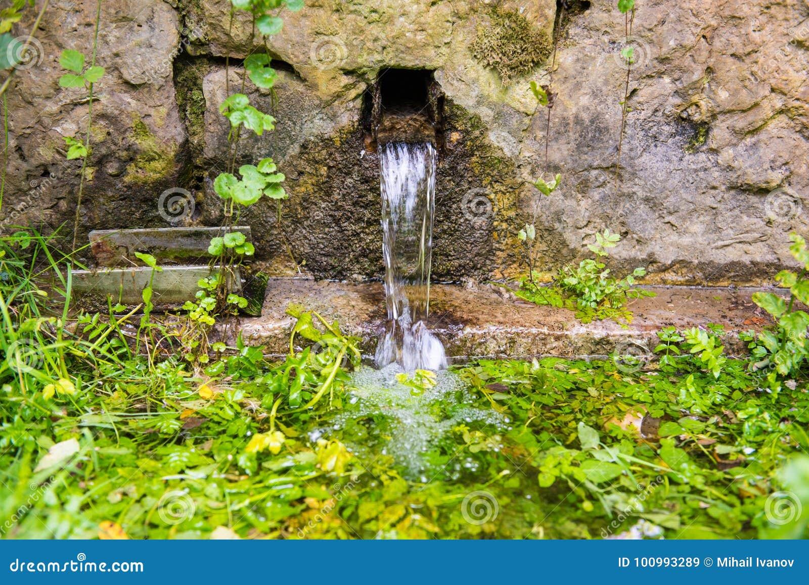 Świeża naturalnej wiosny fontanna