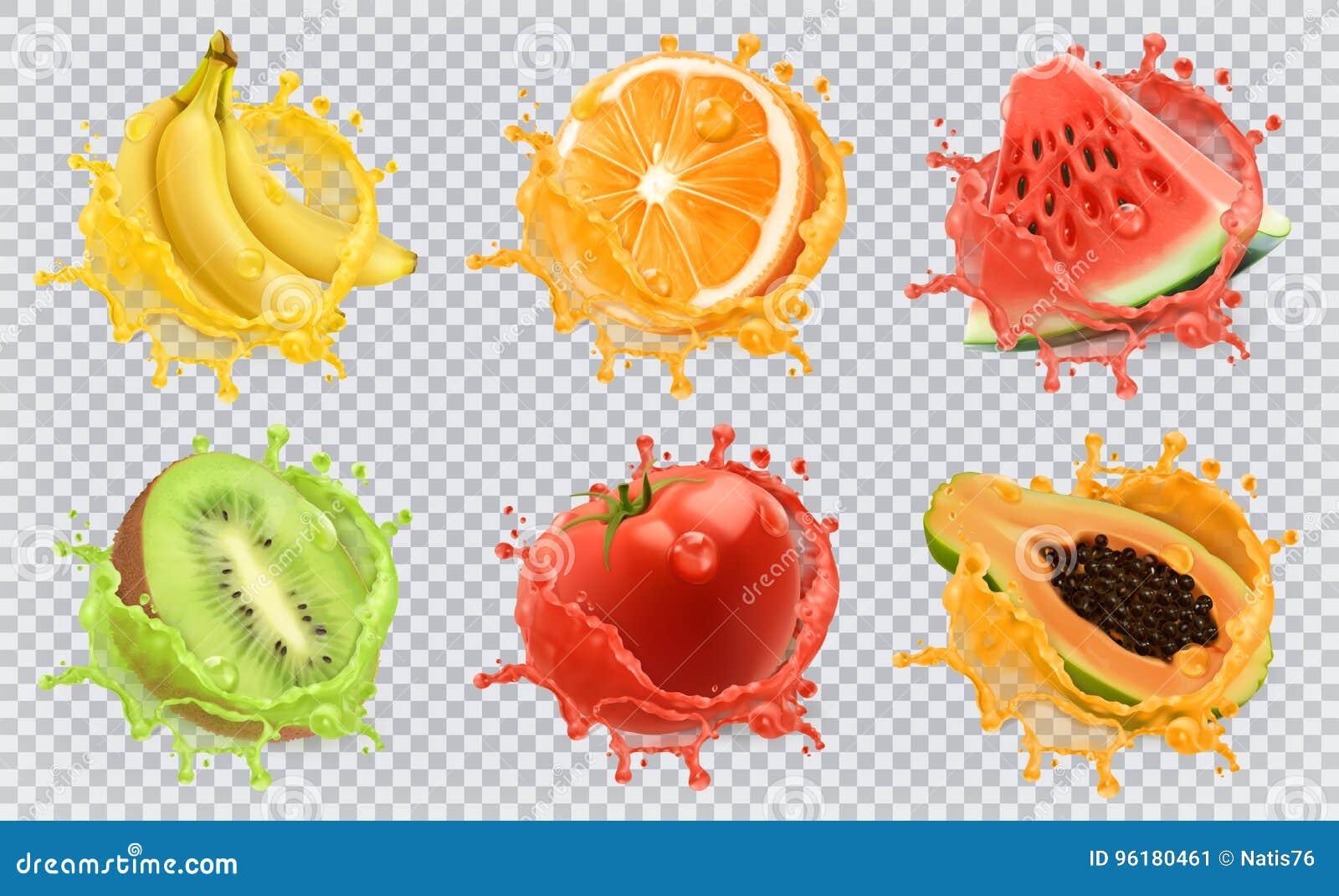 Świeże owoc i pluśnięcia, 3d ikony wektorowy set