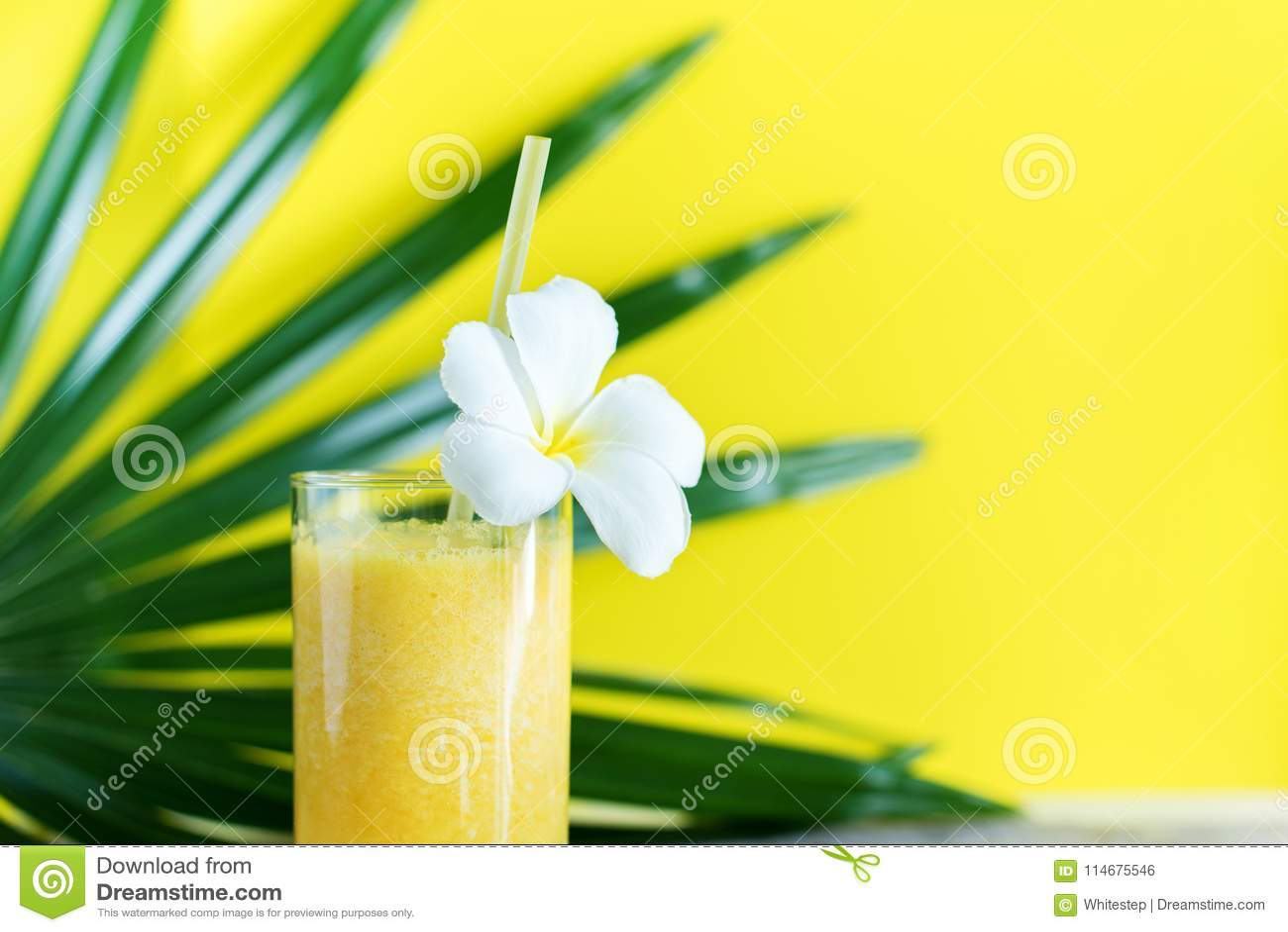 Świeżego koloru soku Smoothie Tropikalny Palmowy liść